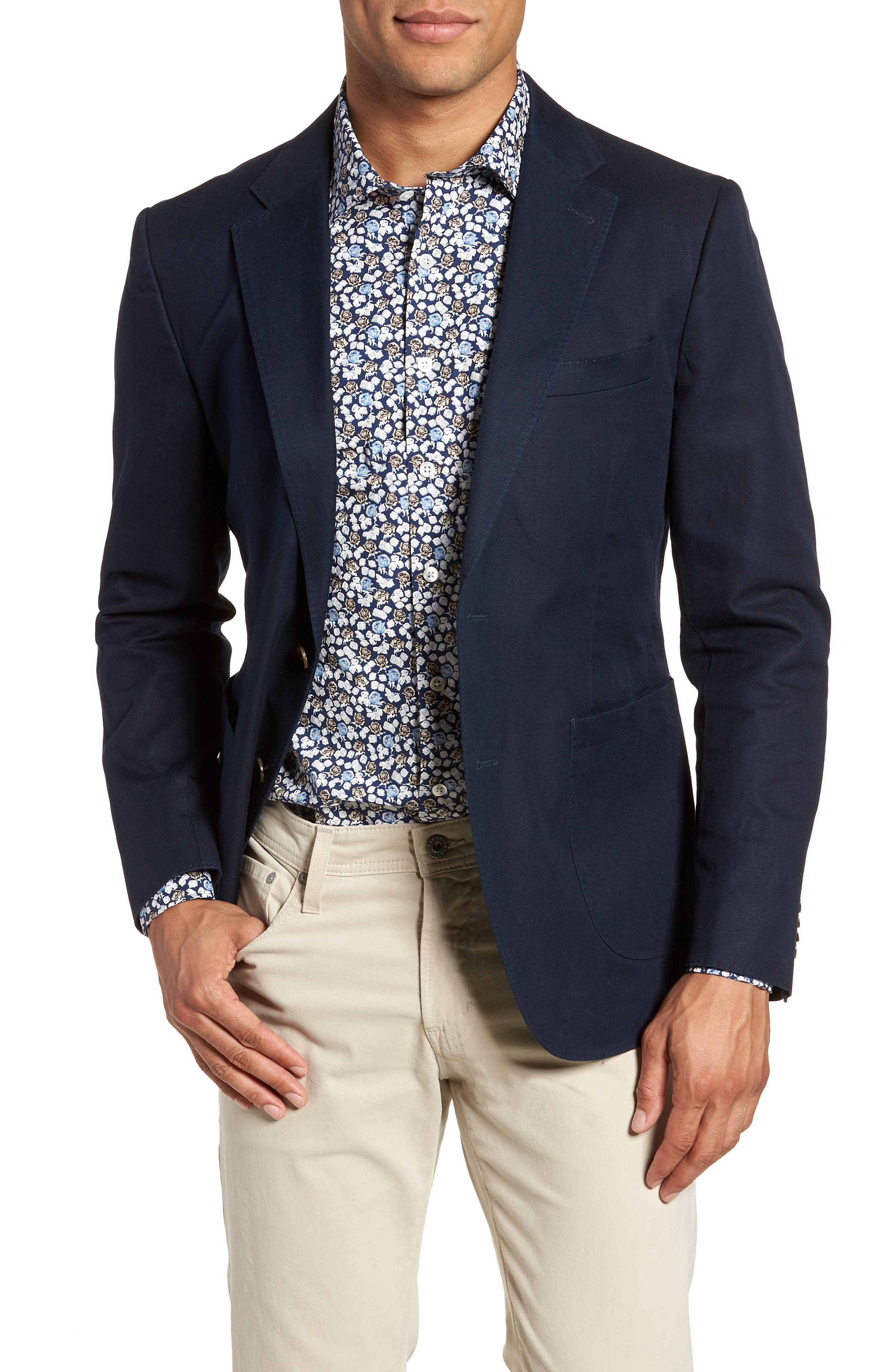Maxwell Valley Cotton & Linen Sport Coat,                             Main thumbnail 1, color,                             Midnight