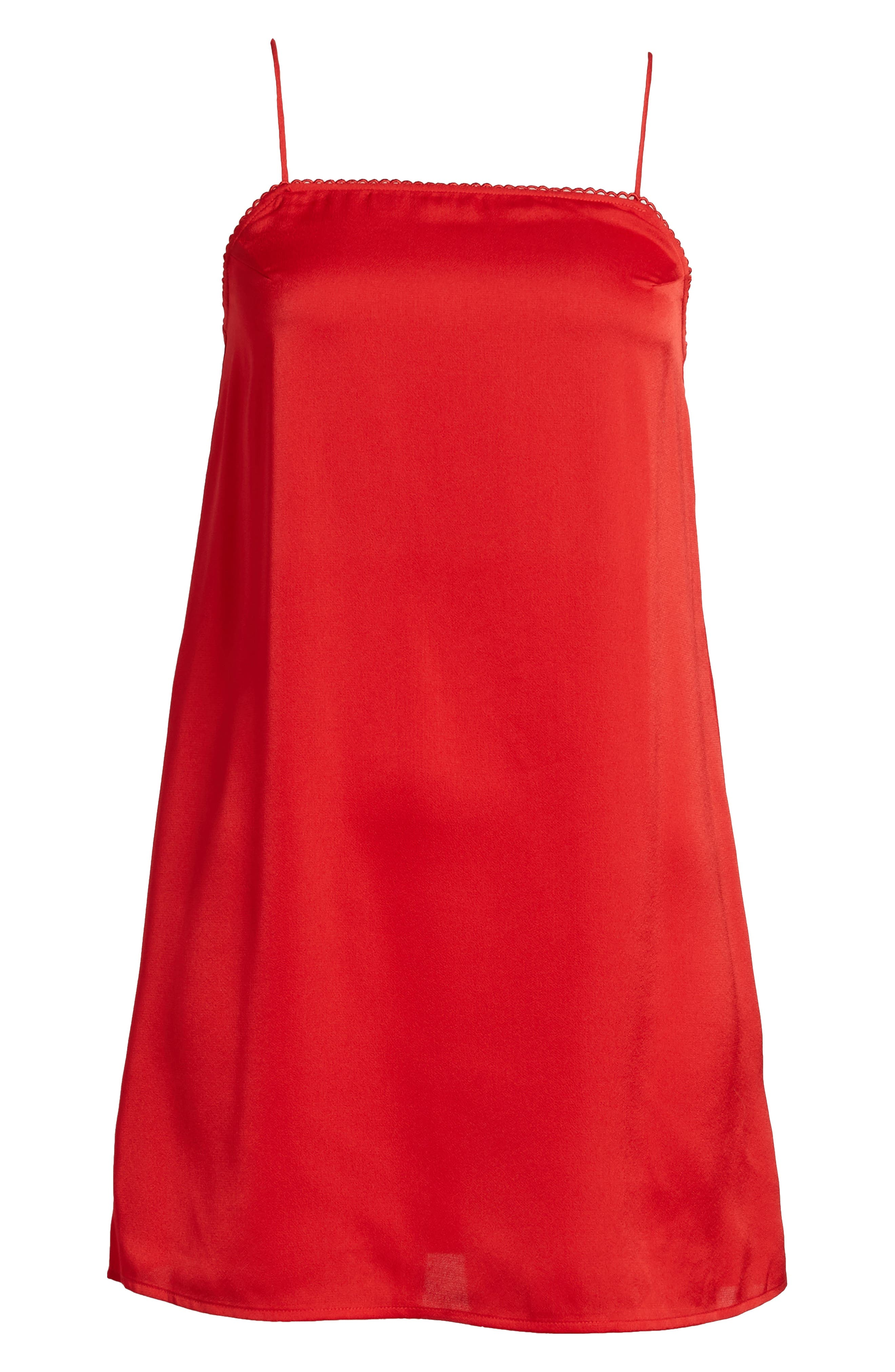 Moonlit Strappy Satin Swing Dress,                             Alternate thumbnail 7, color,                             Red