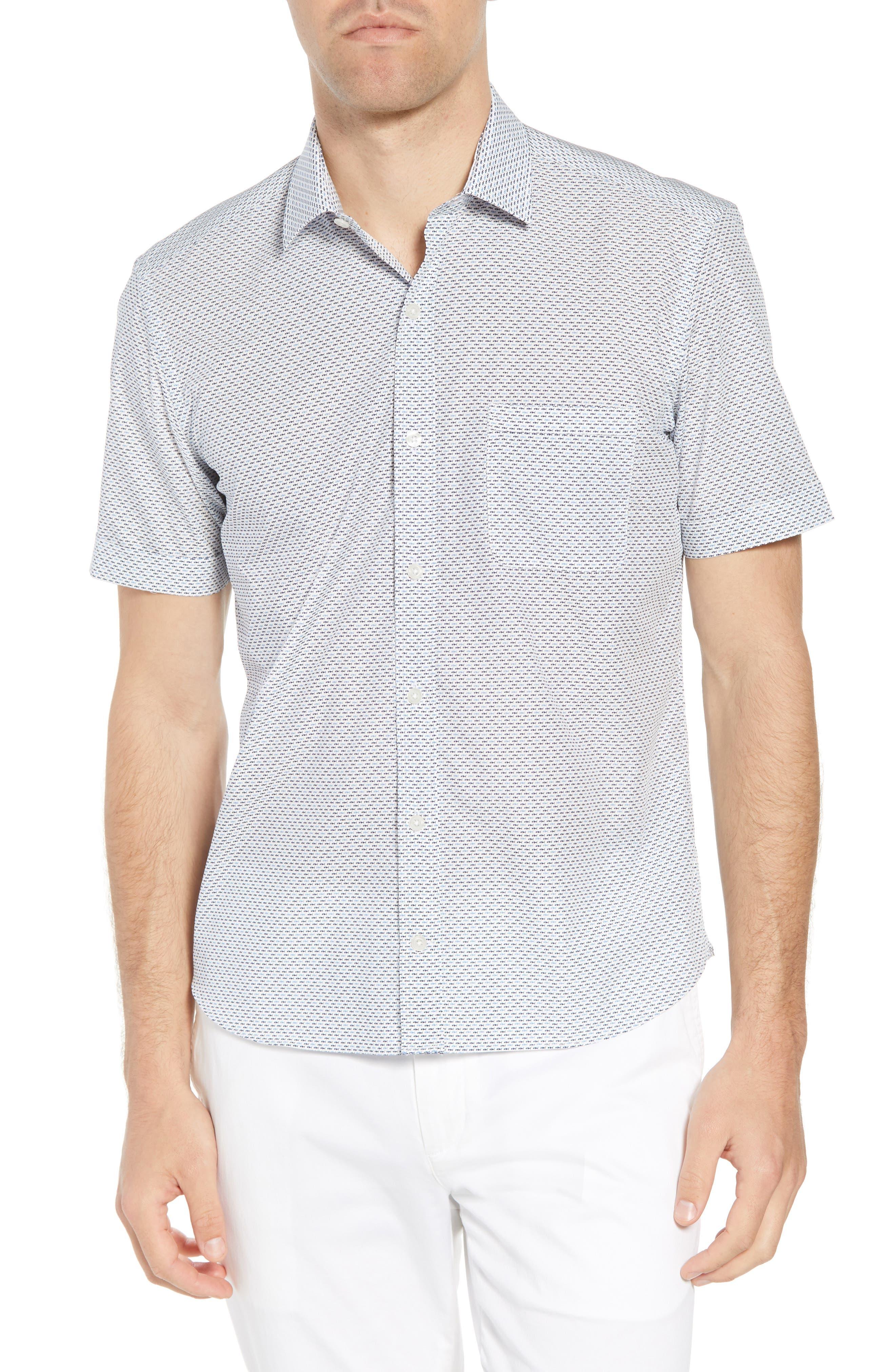 Trim Fit Fish Print Sport Shirt,                             Main thumbnail 1, color,                             White