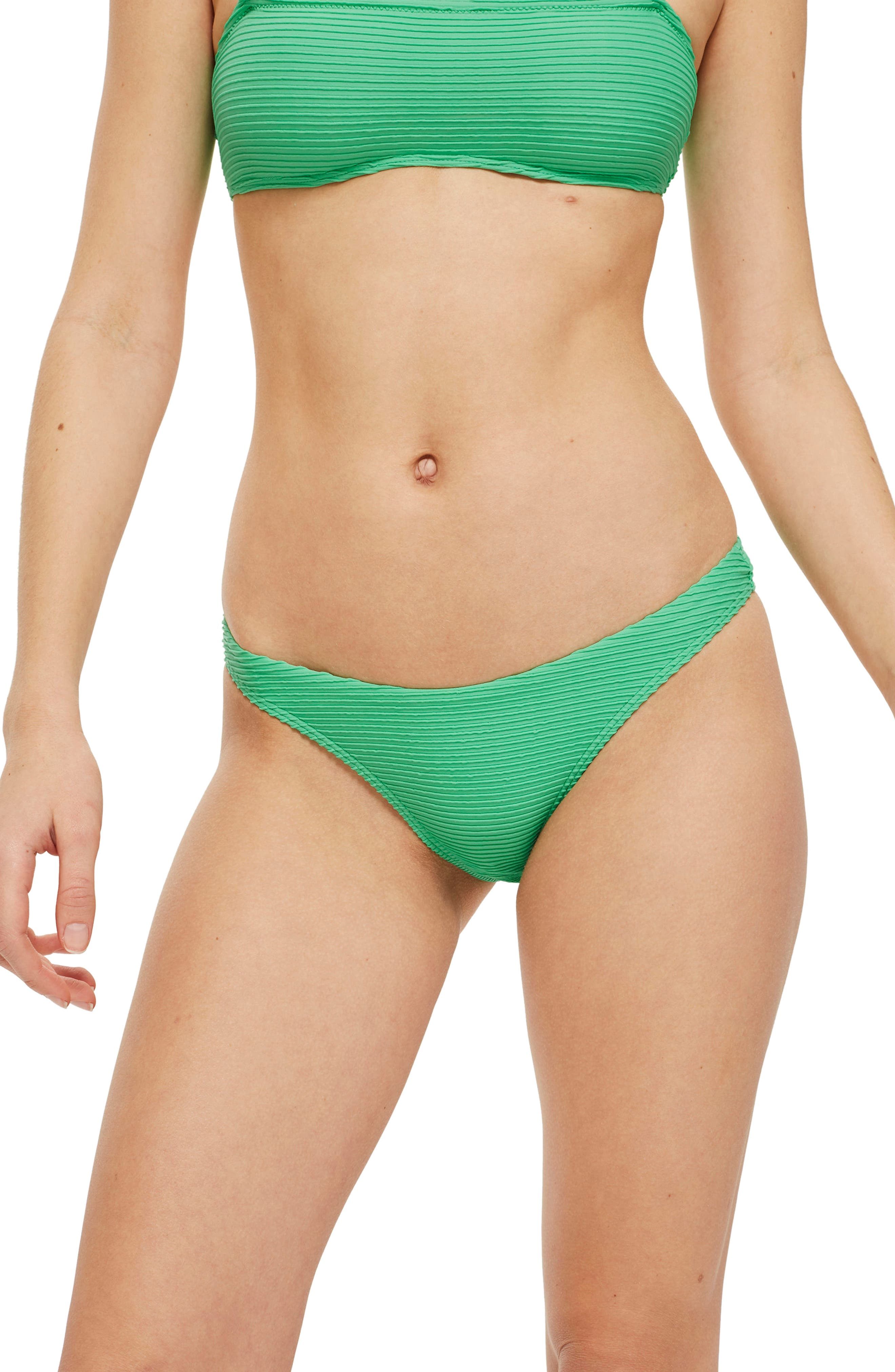 Ribbed High Leg Bikini Bottoms,                             Alternate thumbnail 3, color,                             Green