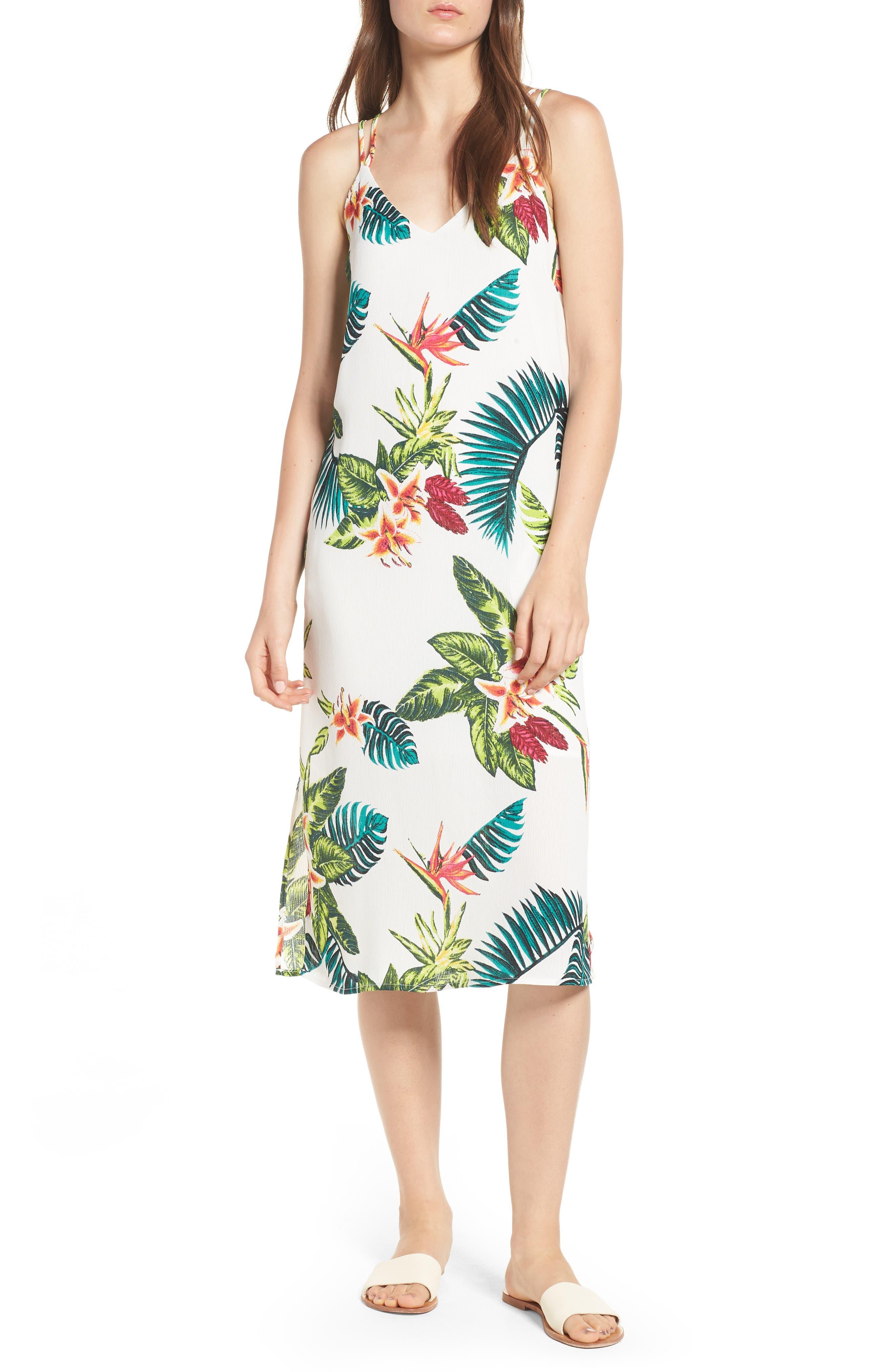Strappy Floral Print Midi Dress,                         Main,                         color, Cream/ Fuchsia
