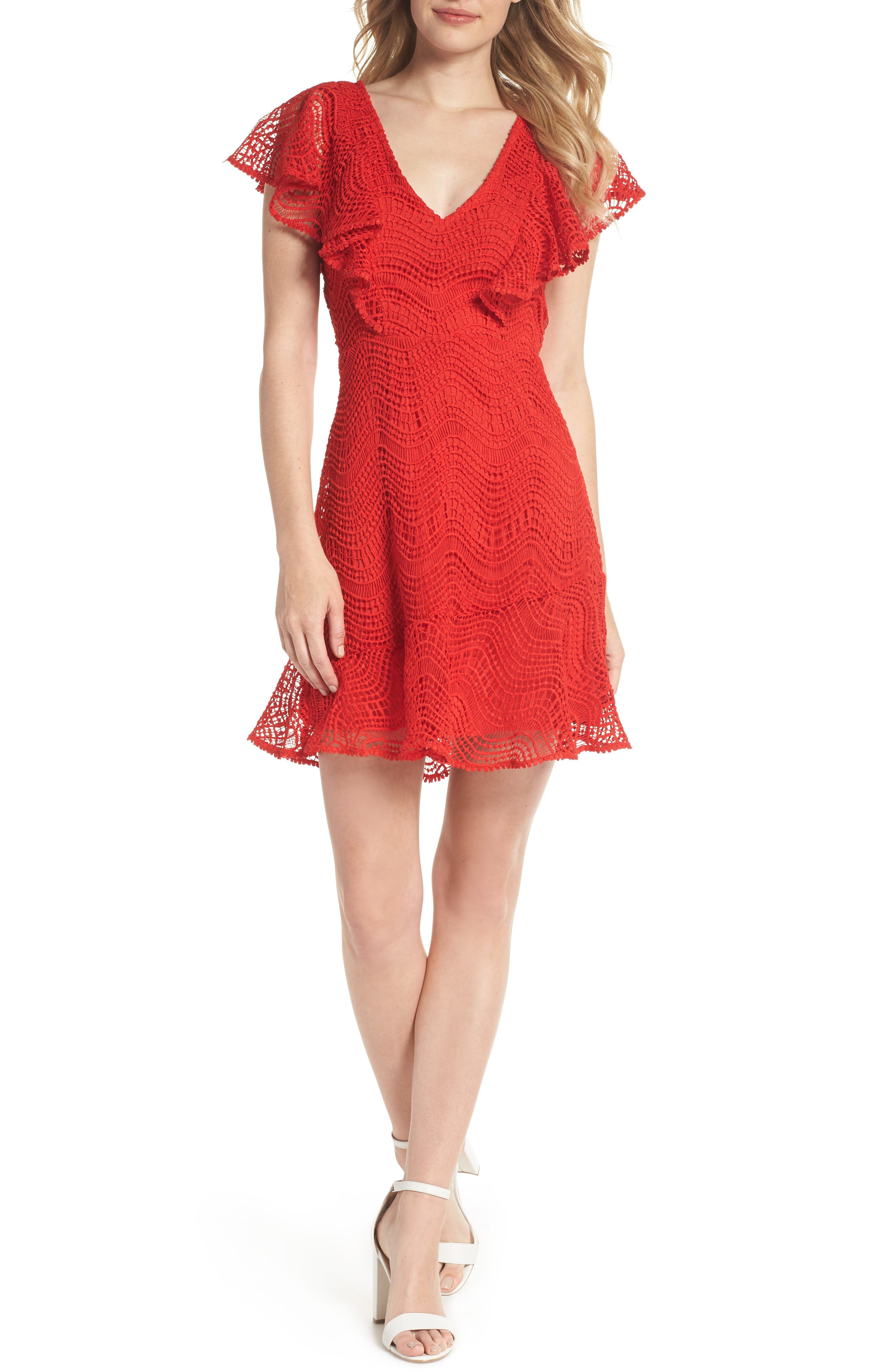 Ruffle Sleeve Lace Fit & Flare Dress,                         Main,                         color, Red Blaze