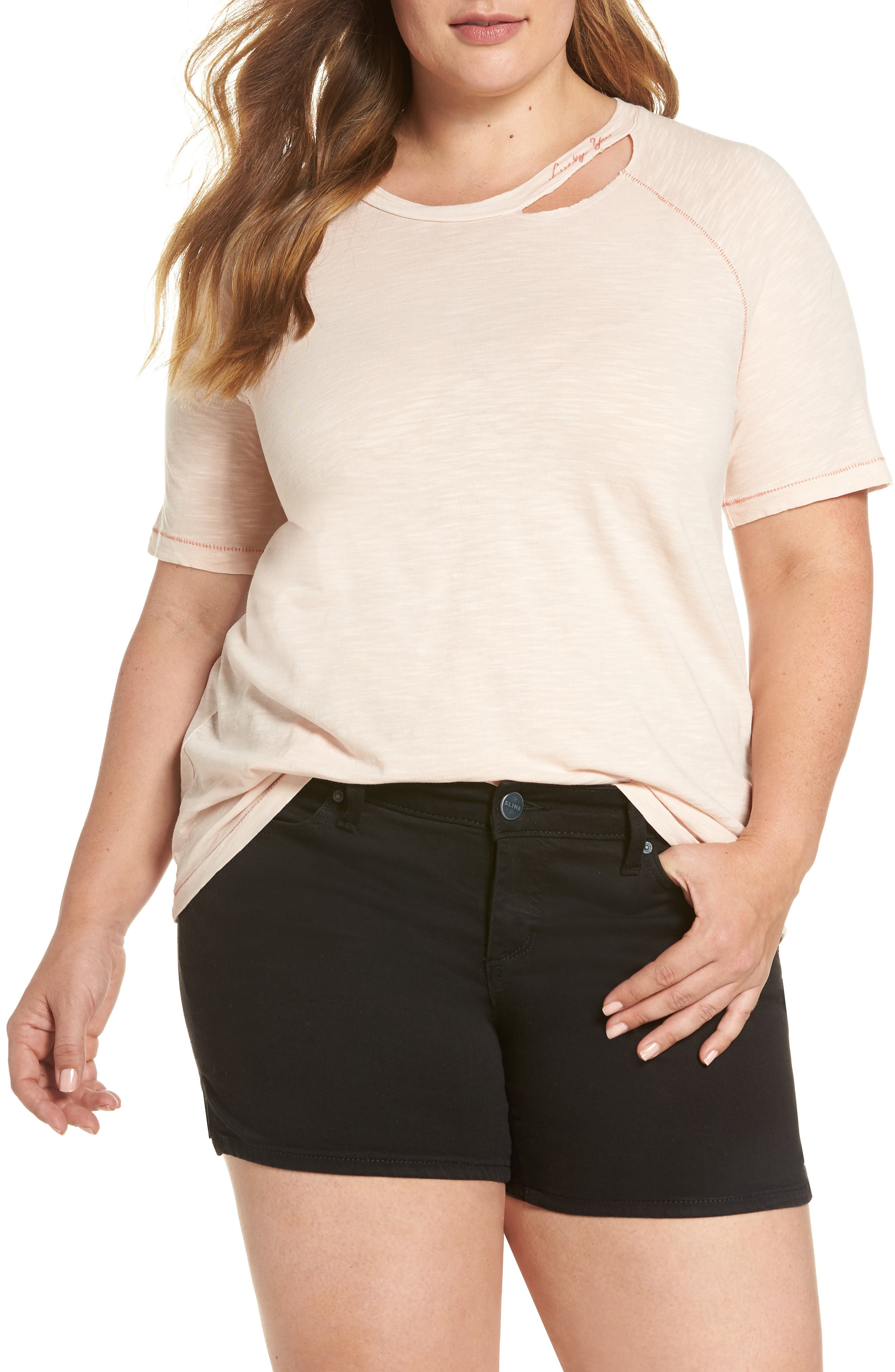 Lucky Brand Lucky You Deconstructed Tee (Plus Size)