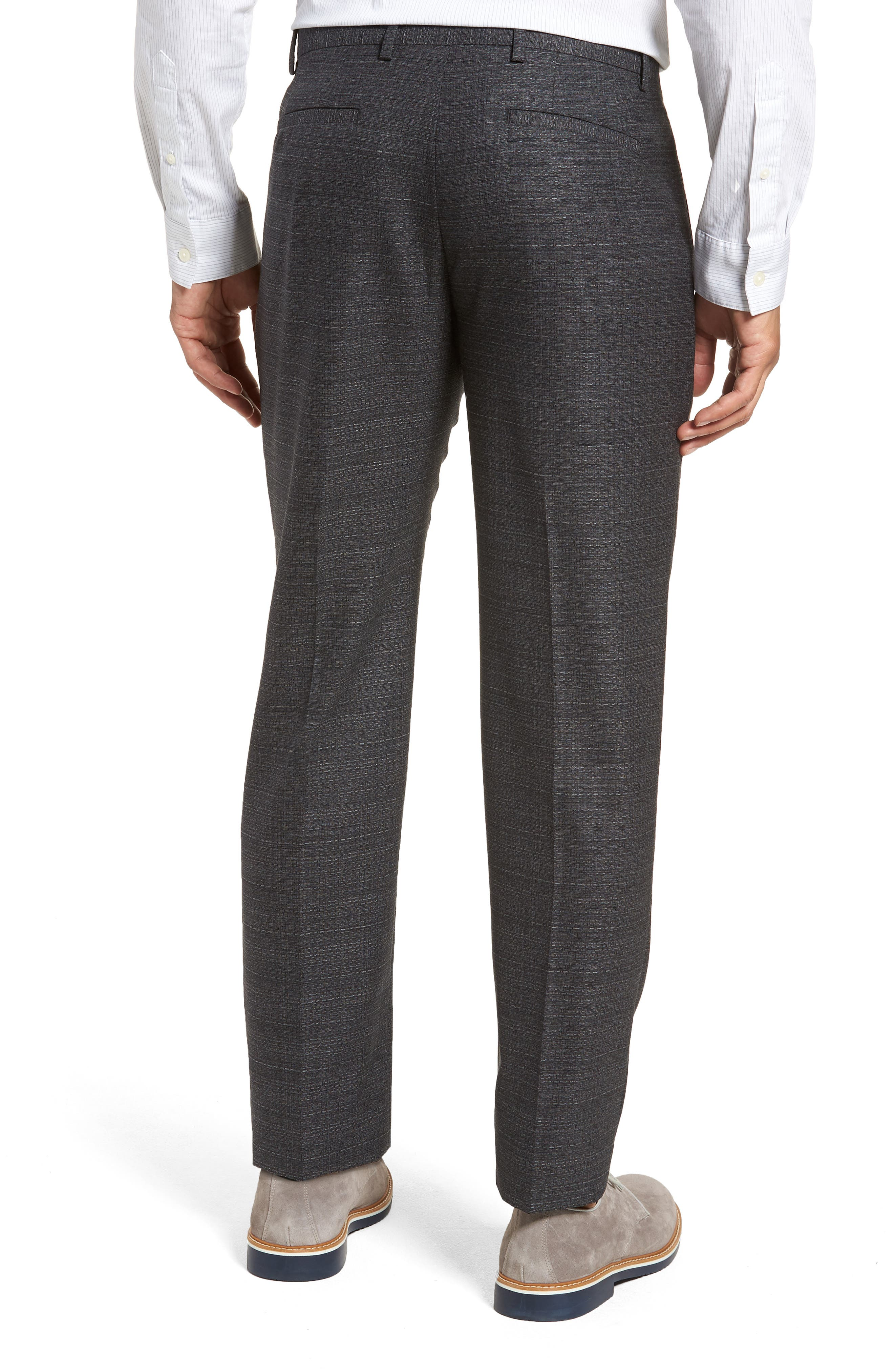 Pleated Solid Wool Trousers,                             Alternate thumbnail 2, color,                             Medium Grey