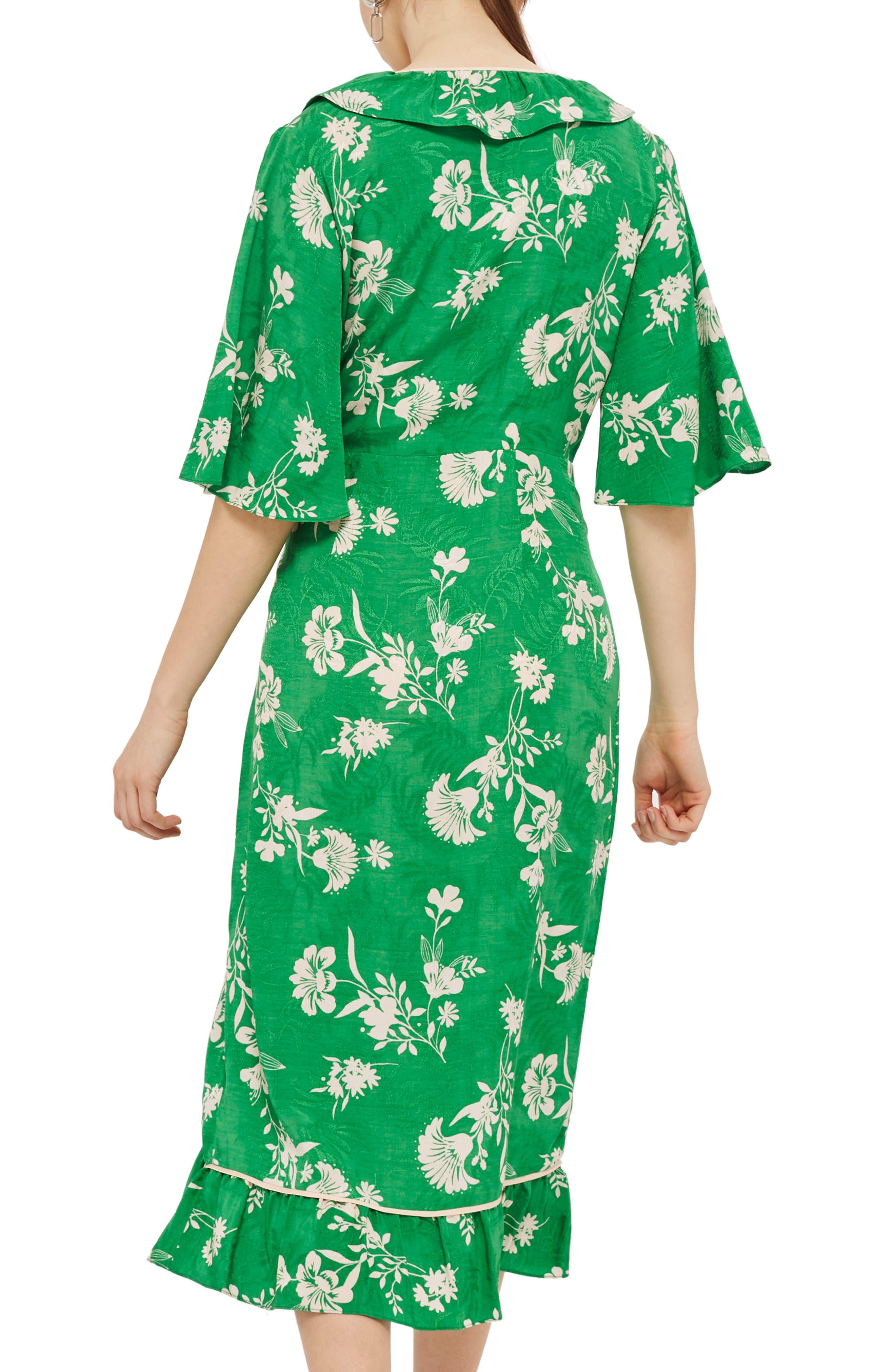 Leaf Print Ruffle Wrap Dress,                             Alternate thumbnail 2, color,                             Green