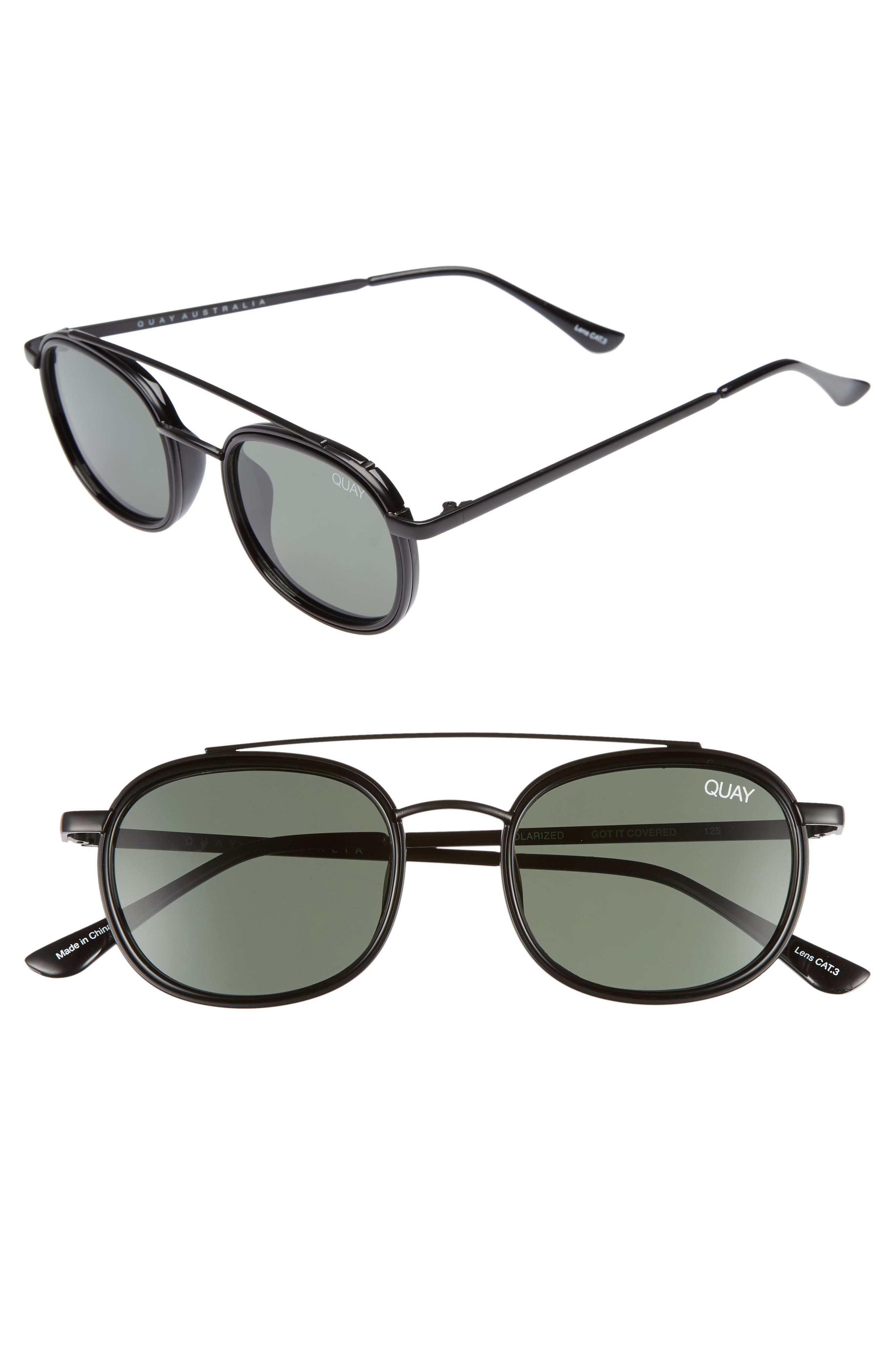 5c7a3658d7 Quay Got It Covered 50Mm Polarized Sunglasses - Black   Green Lens ...