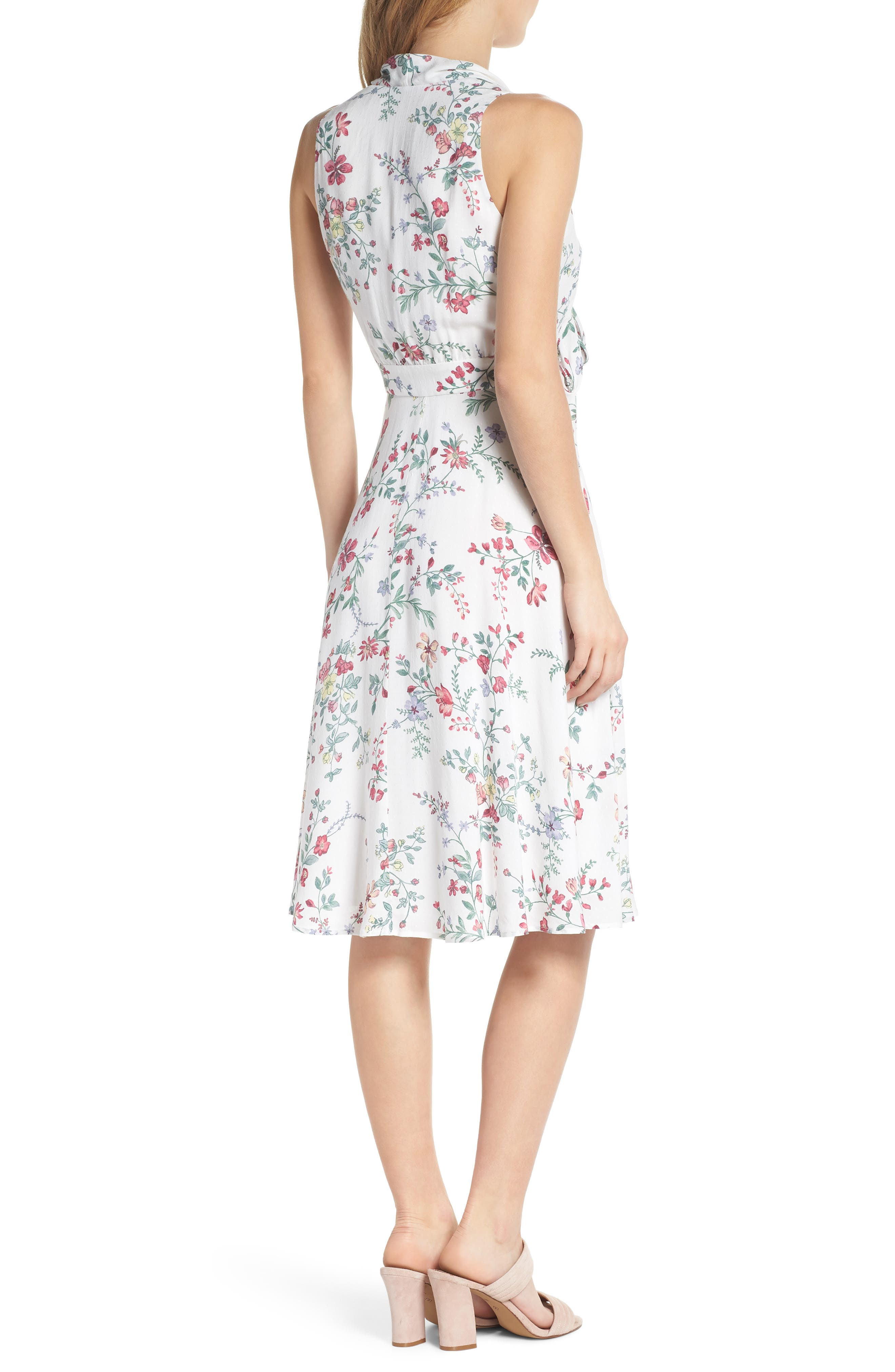 Alexis Delicate Blossom Print Tie Neck Dress,                             Alternate thumbnail 3, color,                             Pearl Rose