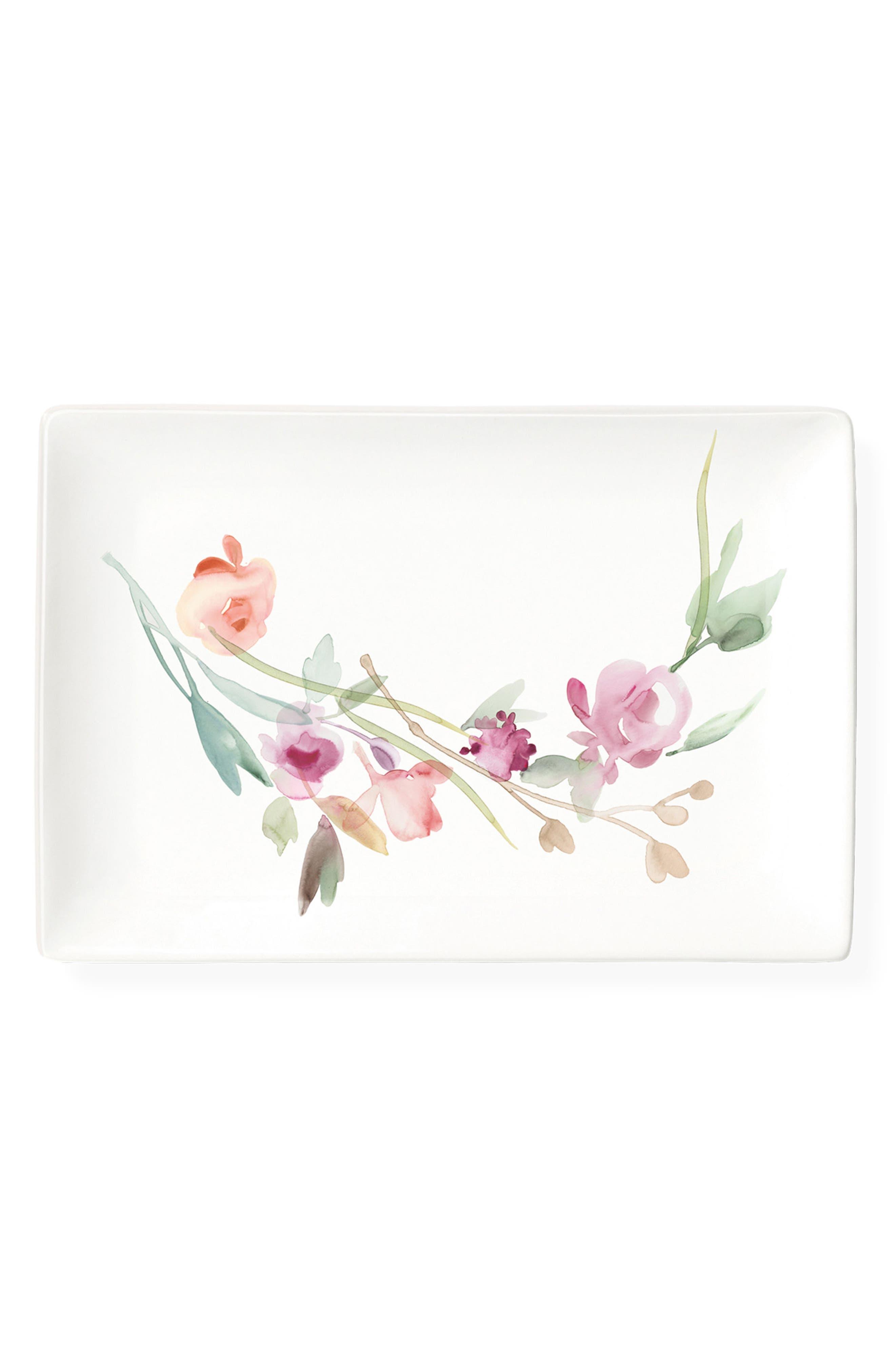 Floral Ceramic Trinket Tray,                         Main,                         color, Pink