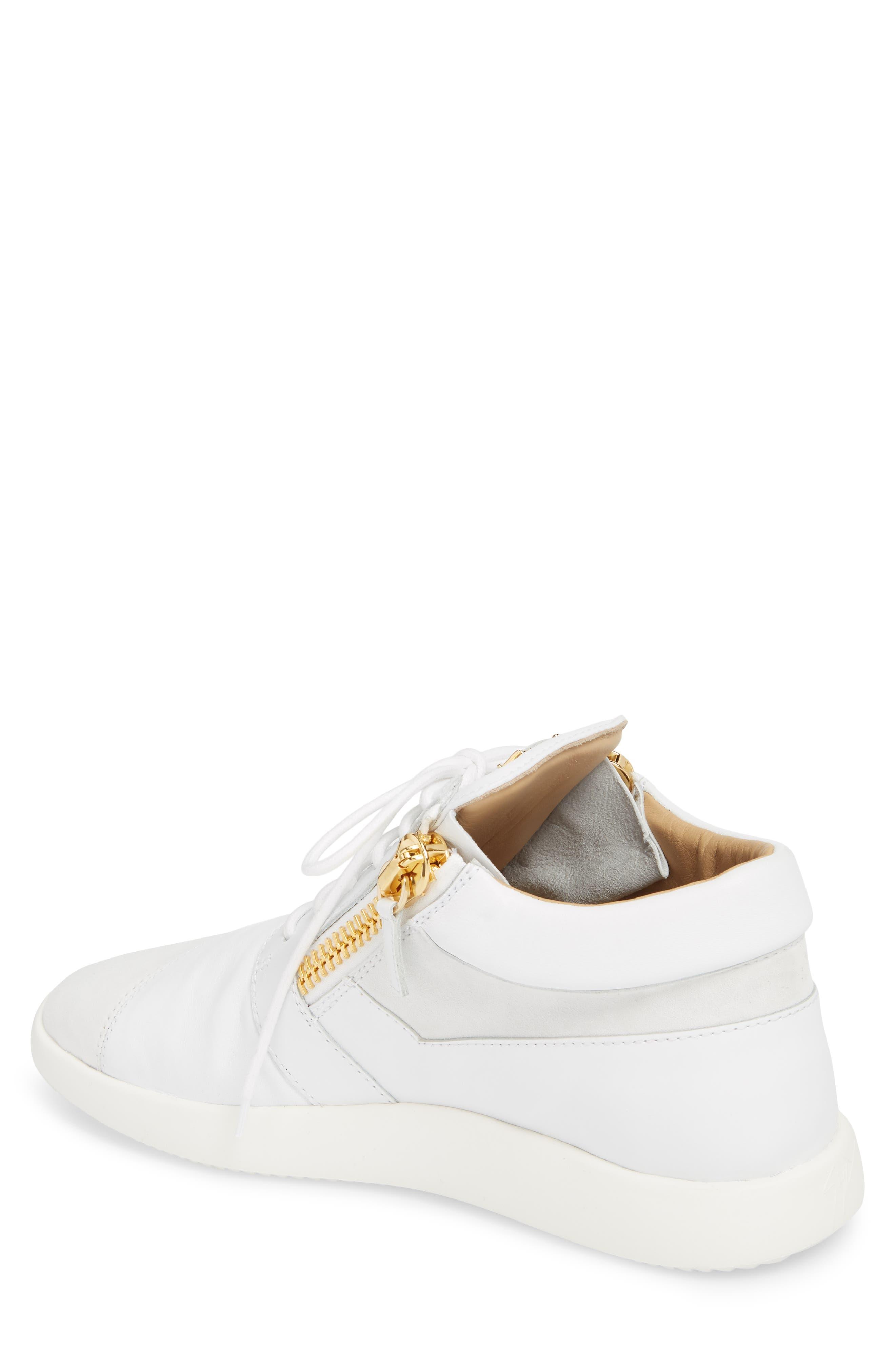 Double Zip Trainer Sneaker,                             Alternate thumbnail 2, color,                             Bianco