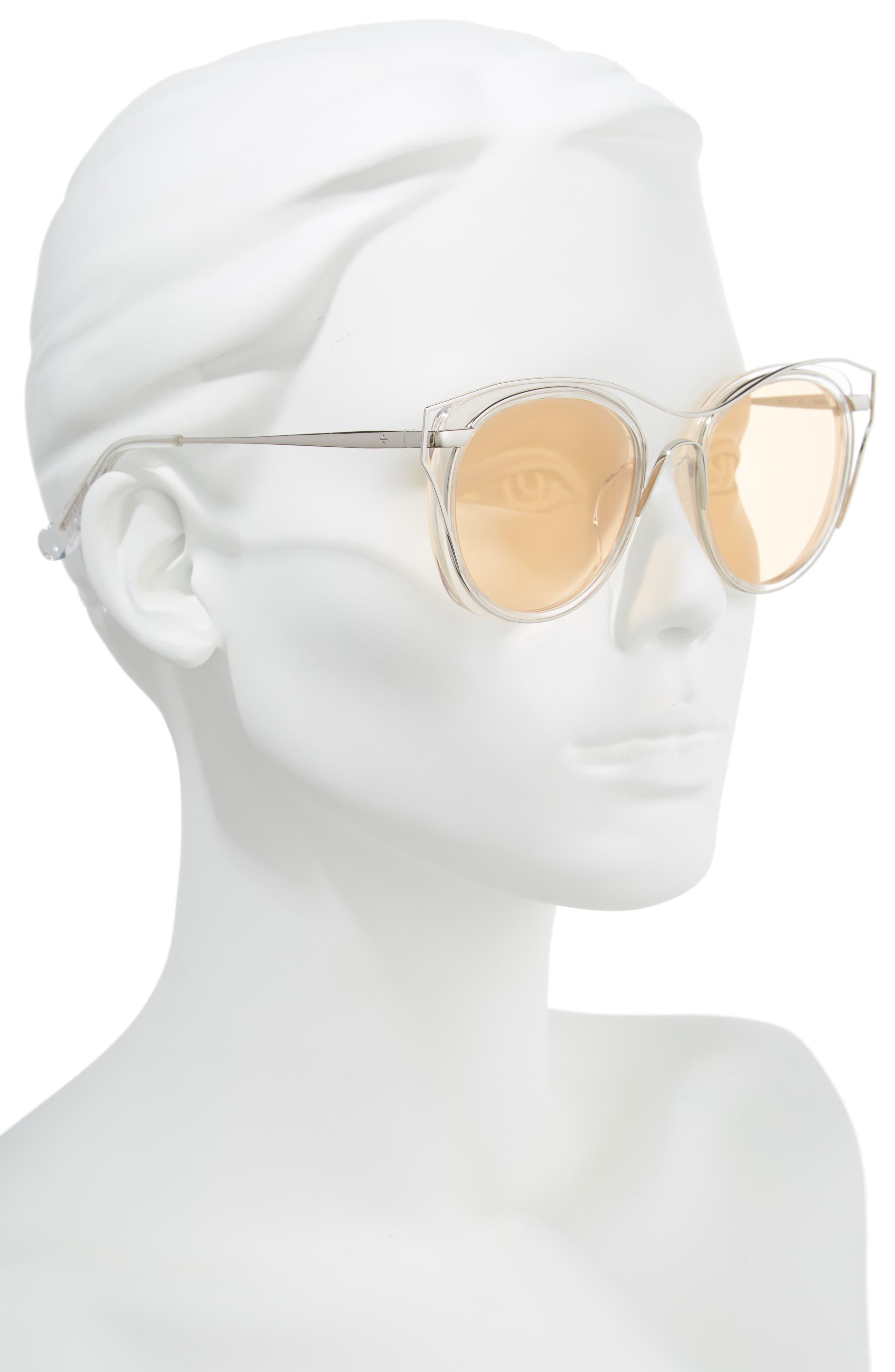 BLANC & ECLARE Singapore 55mm Polarized Sunglasses,                             Alternate thumbnail 2, color,                             Transparent/ Slv/ Orange