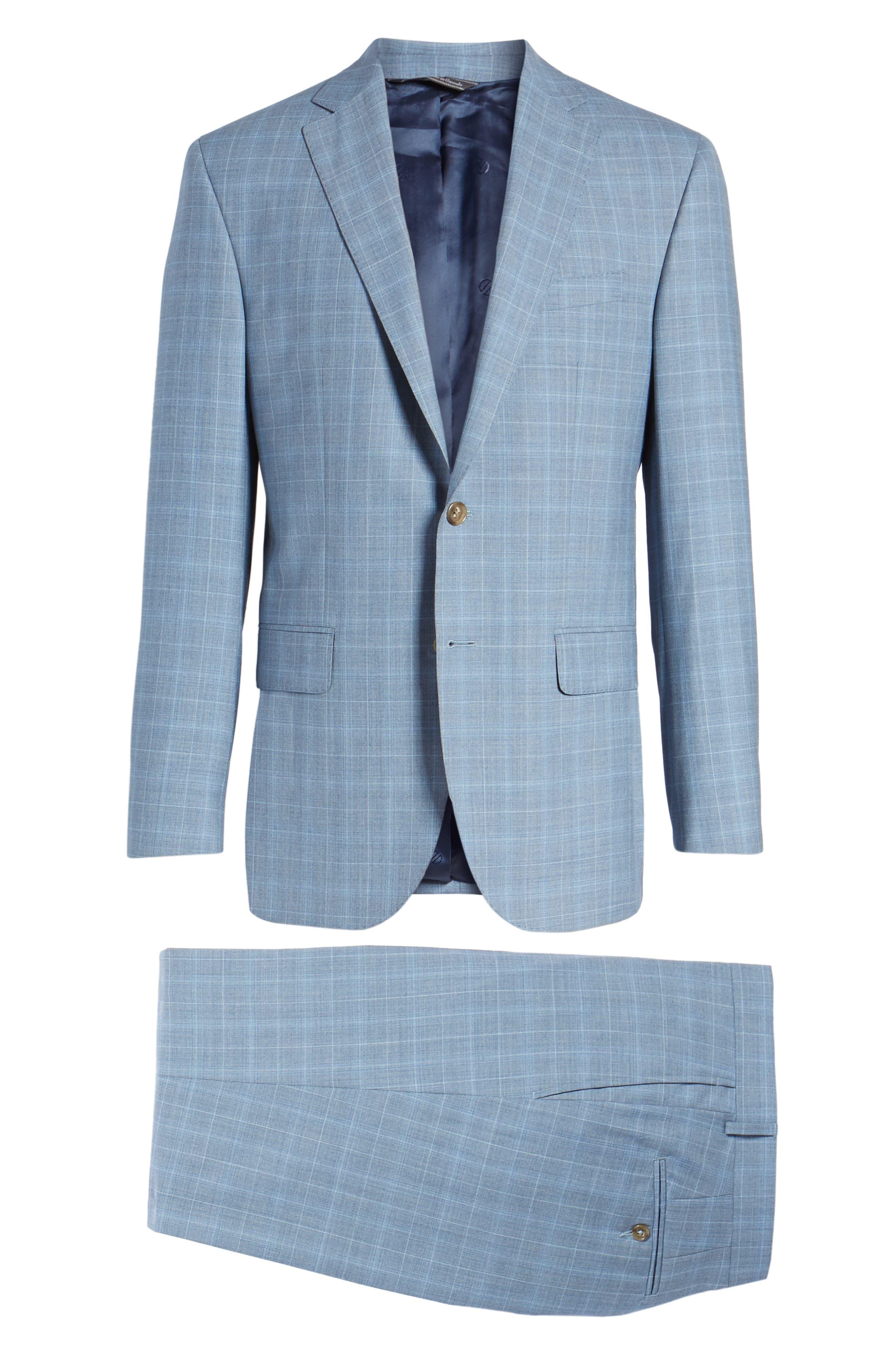 Ryan Classic Fit Plaid Wool Suit,                             Alternate thumbnail 8, color,                             Blue