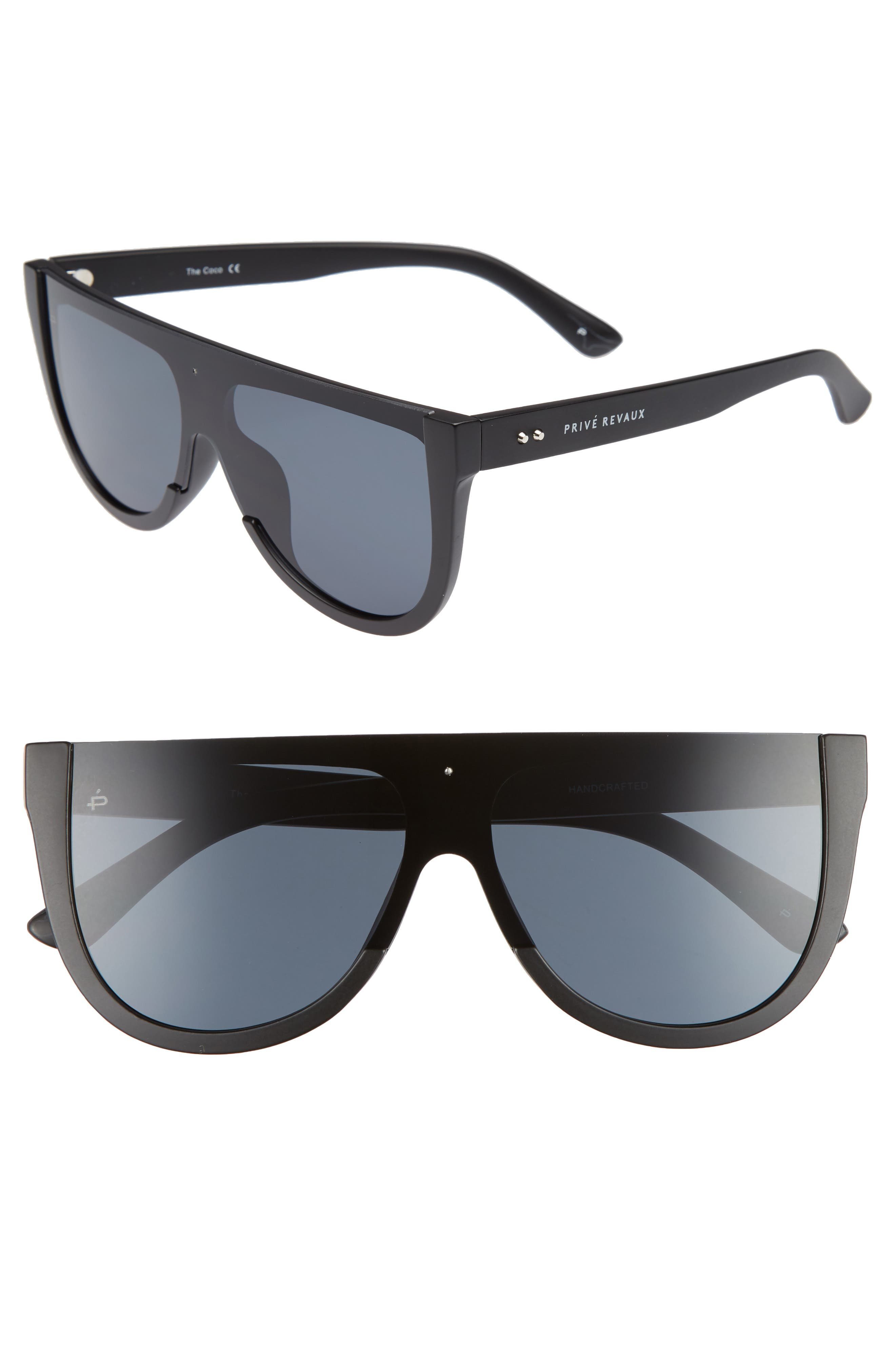 Privé Revaux The Coco 60mm Shield Sunglasses,                             Main thumbnail 1, color,                             Black