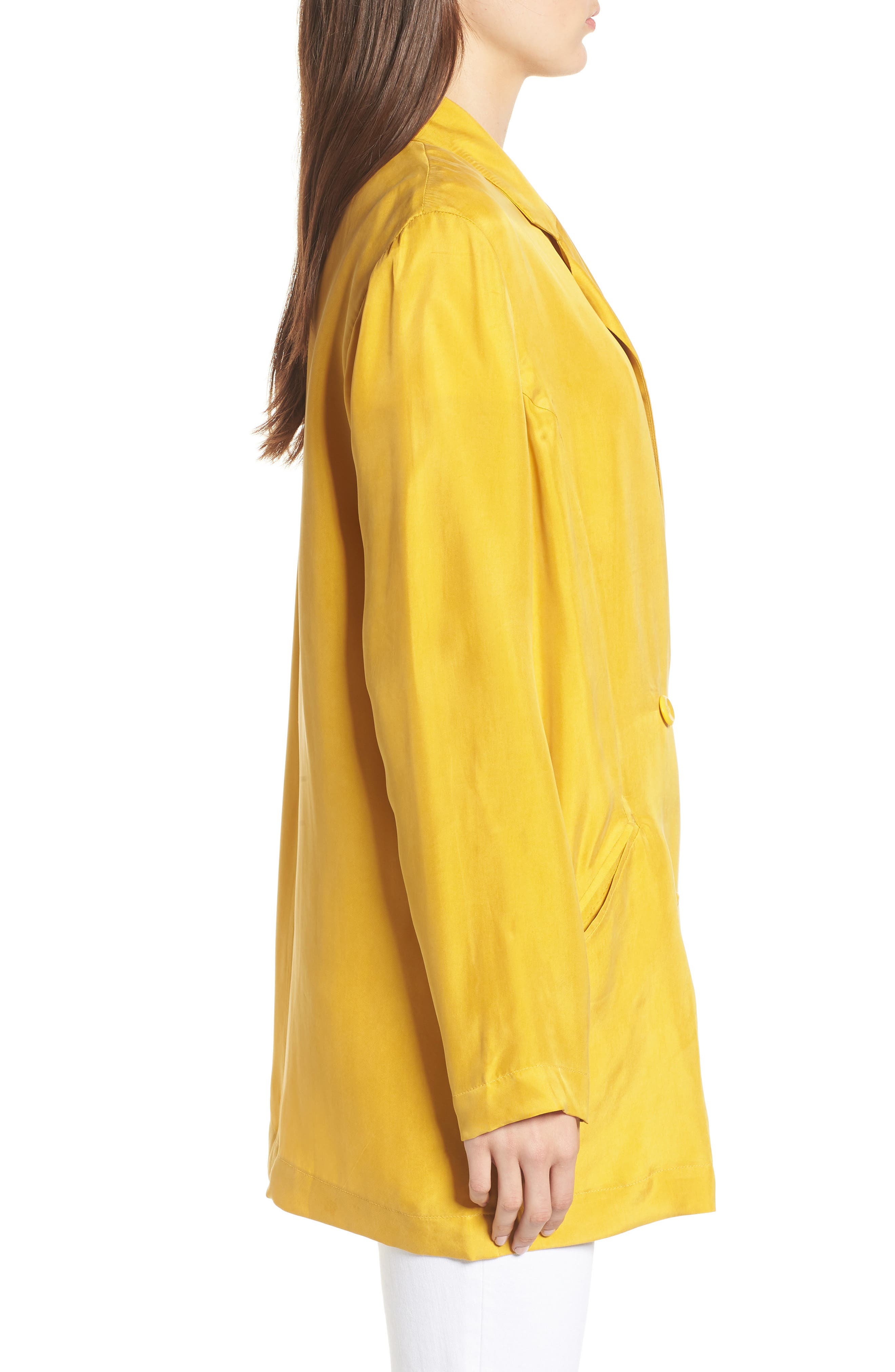 Double Breasted Longline Blazer,                             Alternate thumbnail 3, color,                             Yellow Nugget