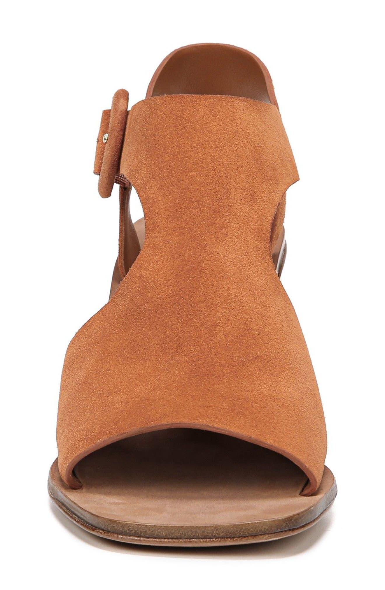 Katya Shield Sandal,                             Alternate thumbnail 4, color,                             Amber Suede