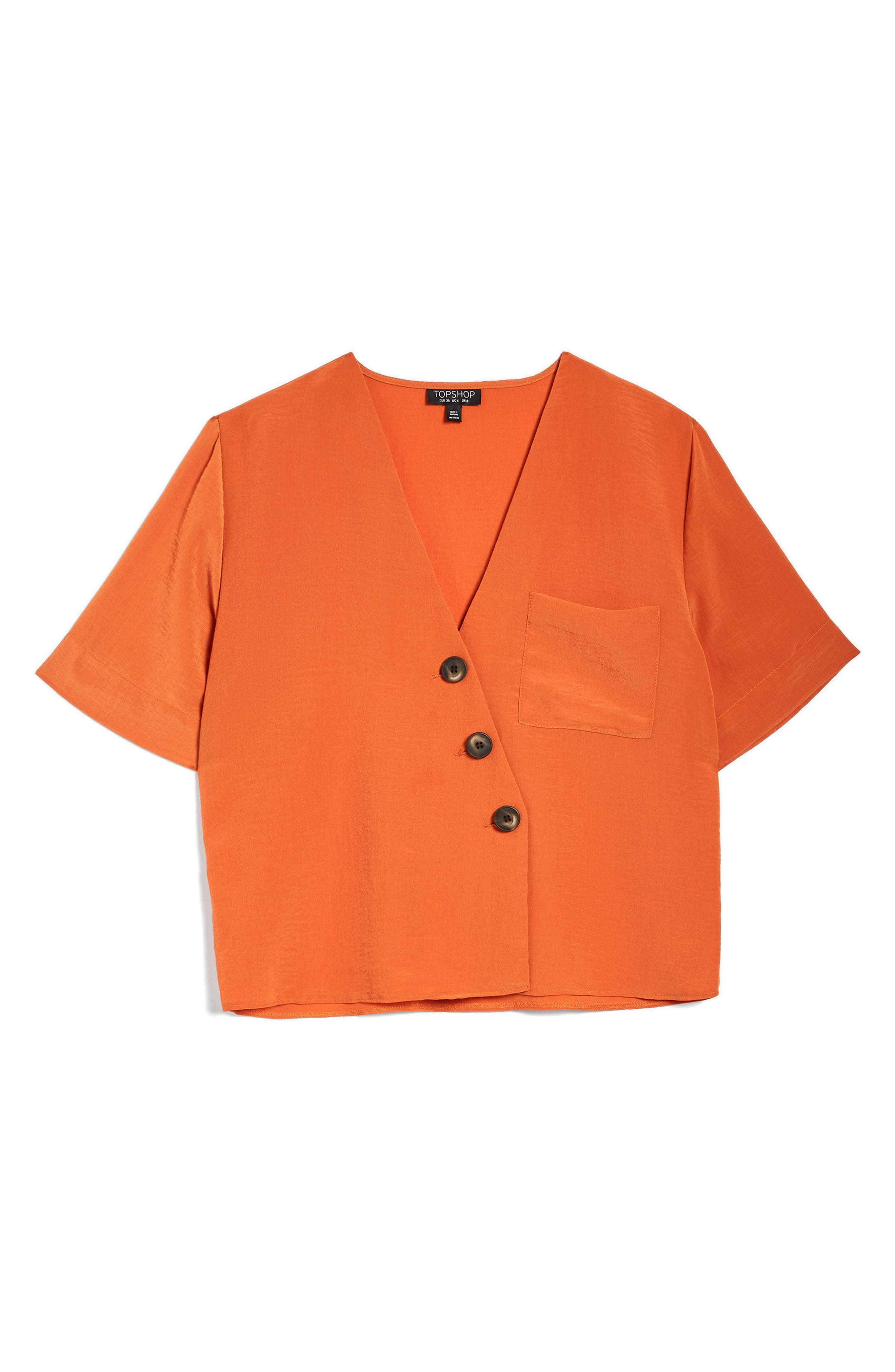 Ashley Asymmetrical Blouse,                             Alternate thumbnail 4, color,                             Dark Orange