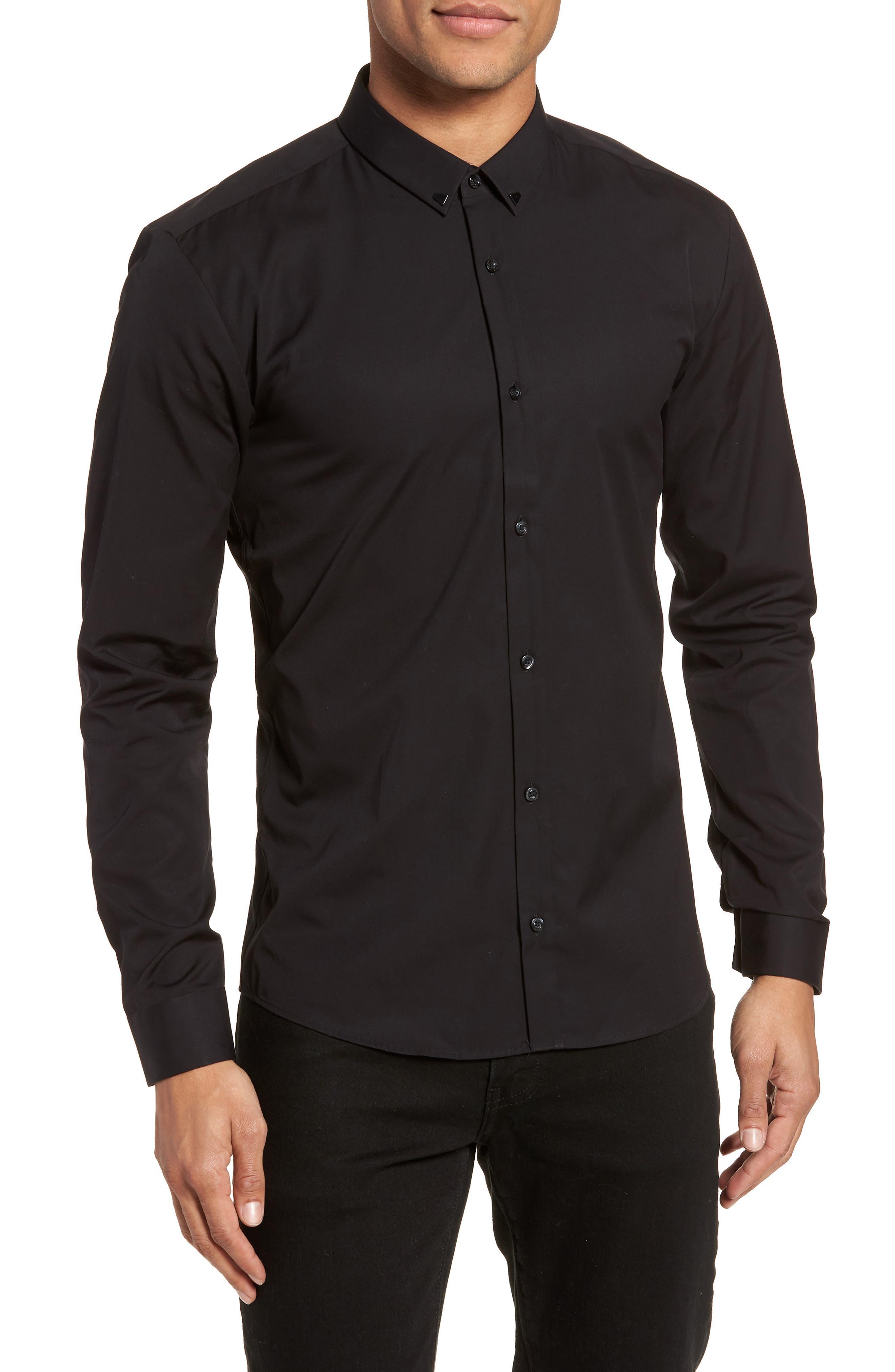 Ero Slim Fit Solid Cotton Sport Shirt,                             Main thumbnail 1, color,                             Black