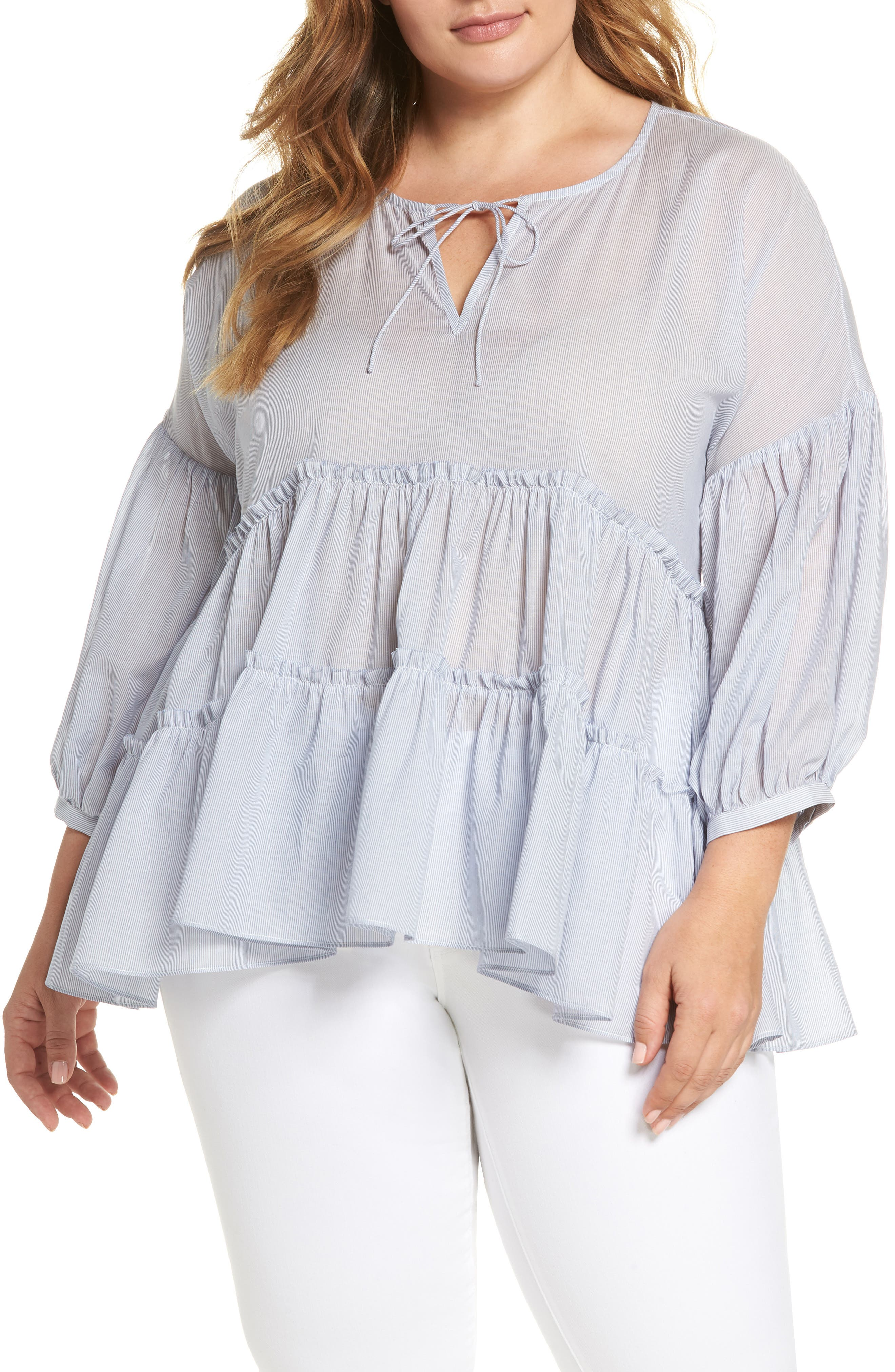 Main Image - Lucky Brand Stripe Tie Neck Tiered Top (Plus Size)