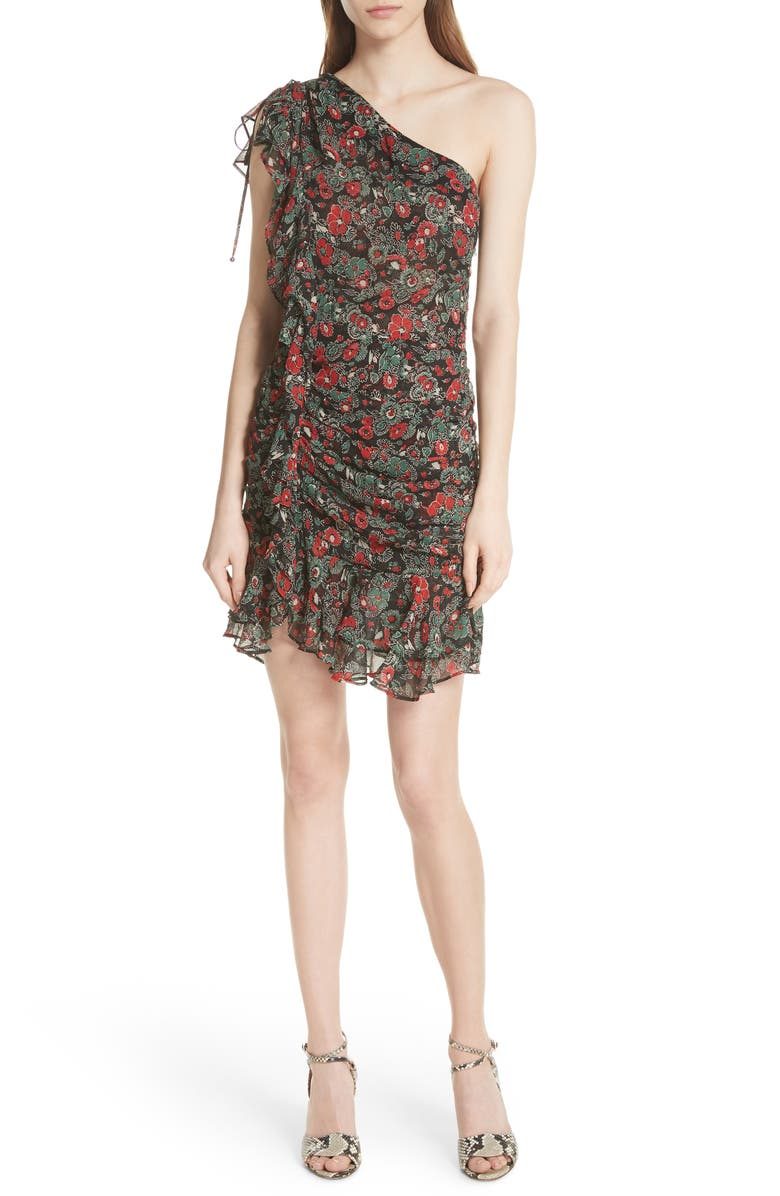 Ballard Print One-Shoulder Silk Dress