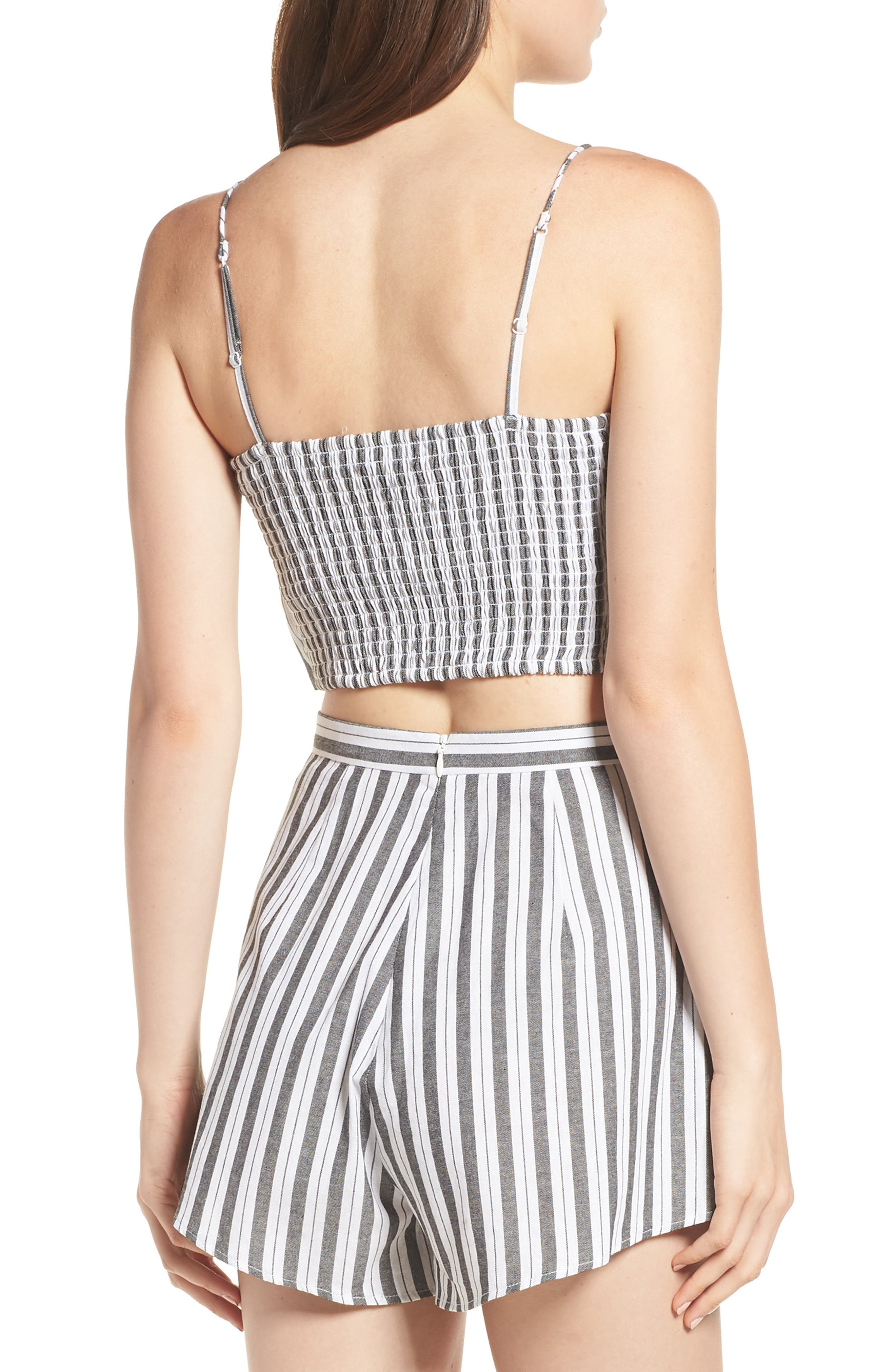 Acacia Stripe Knotted Crop Top,                             Alternate thumbnail 3, color,                             Black W White