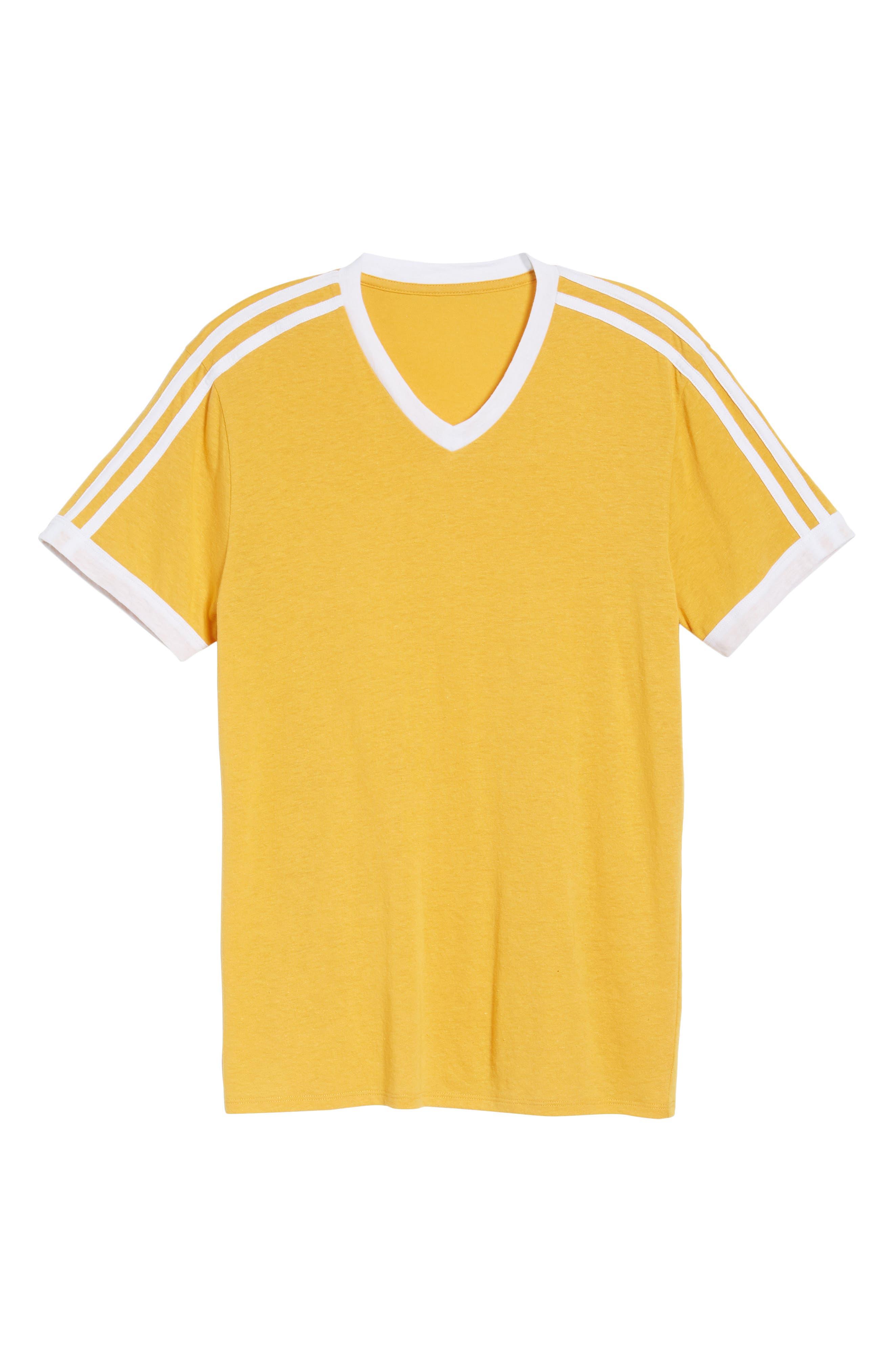 Vintage Athletic V-Neck T-Shirt,                             Alternate thumbnail 6, color,                             Yellow Mineral / White Stripe