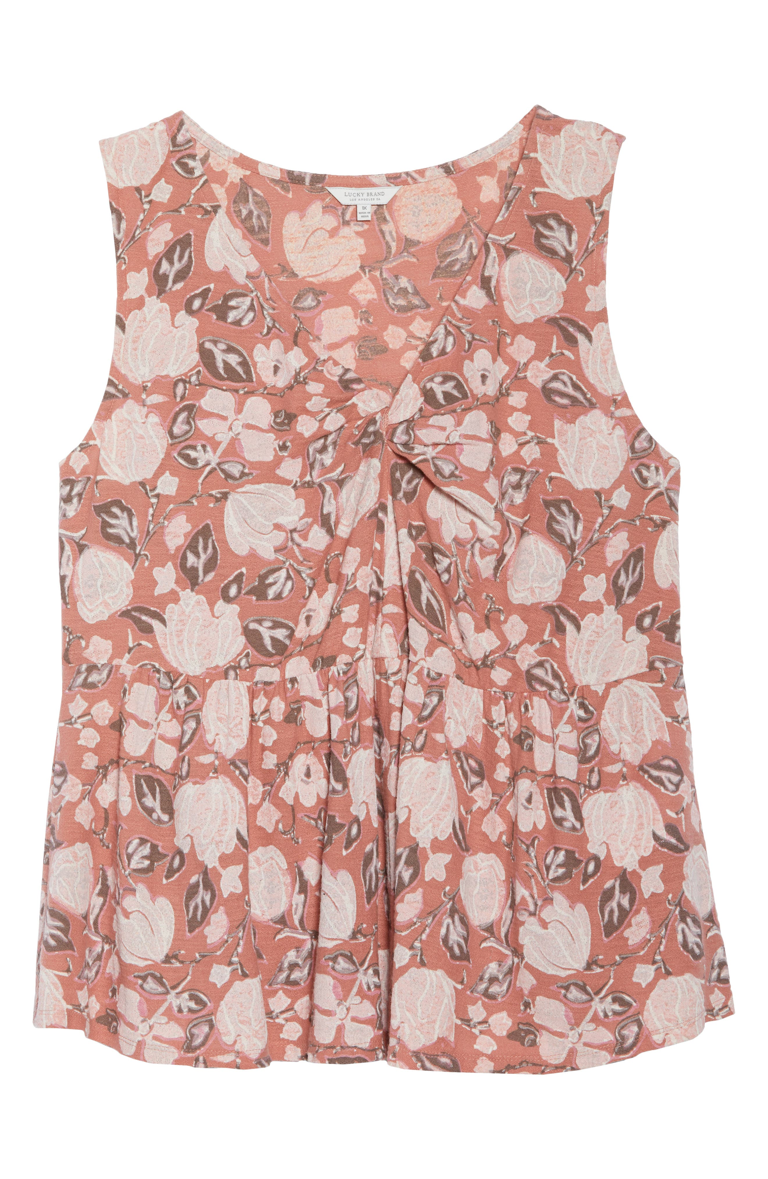 Floral Knot Neck Tank,                             Alternate thumbnail 7, color,                             Coral Multi