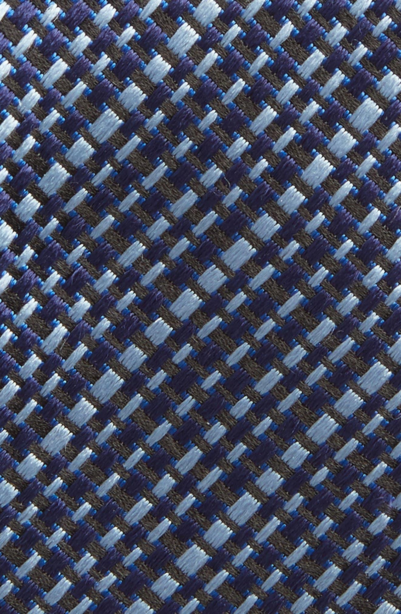 Grid Silk Tie,                             Alternate thumbnail 2, color,                             Open Blue