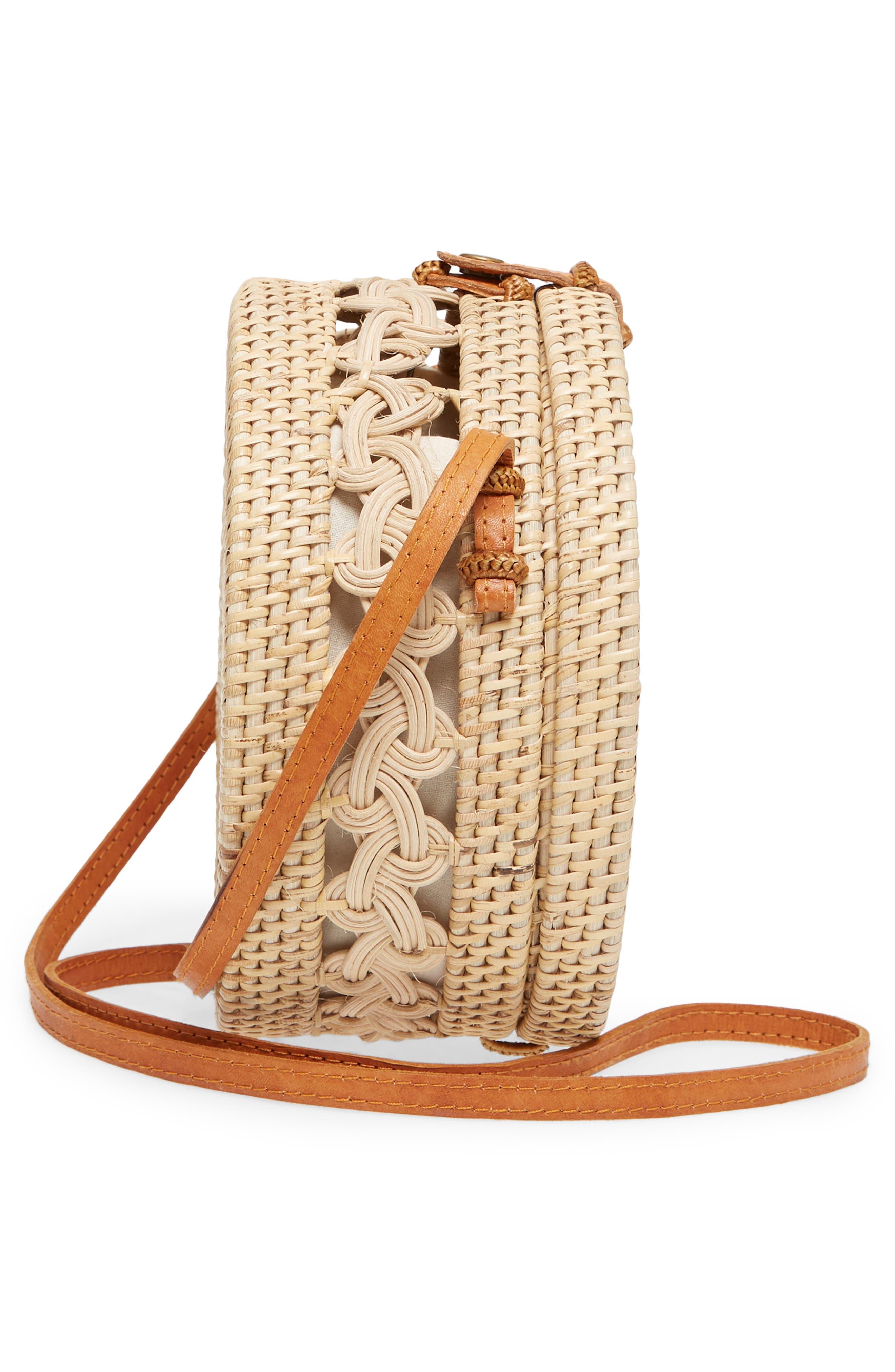 Woven Rattan Circle Crossbody Bag,                             Alternate thumbnail 5, color,                             Lighter Tan/ Natural