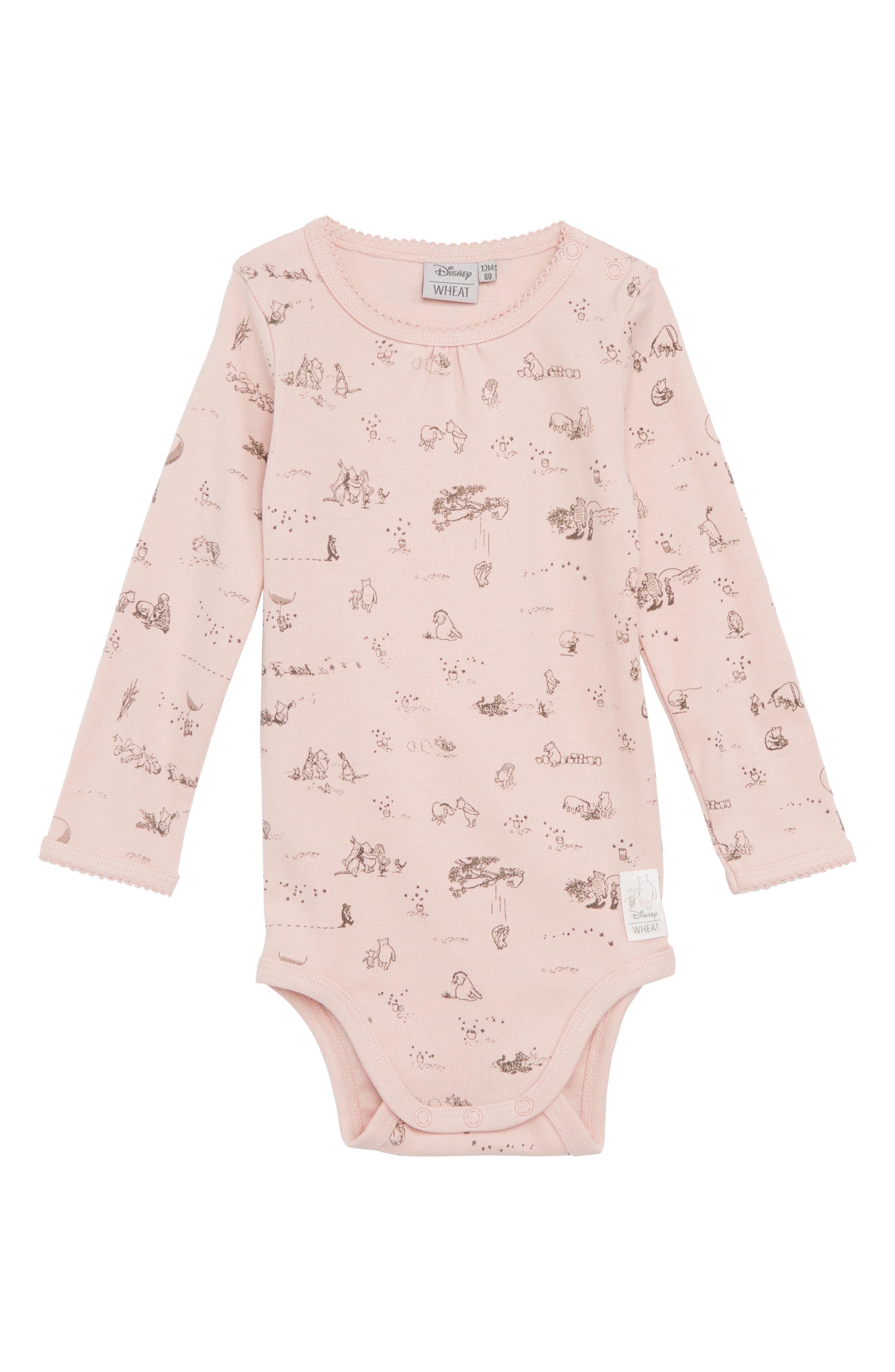 x Disney<sup>®</sup> Winnie the Pooh Organic Cotton Bodysuit,                             Main thumbnail 1, color,                             Powder