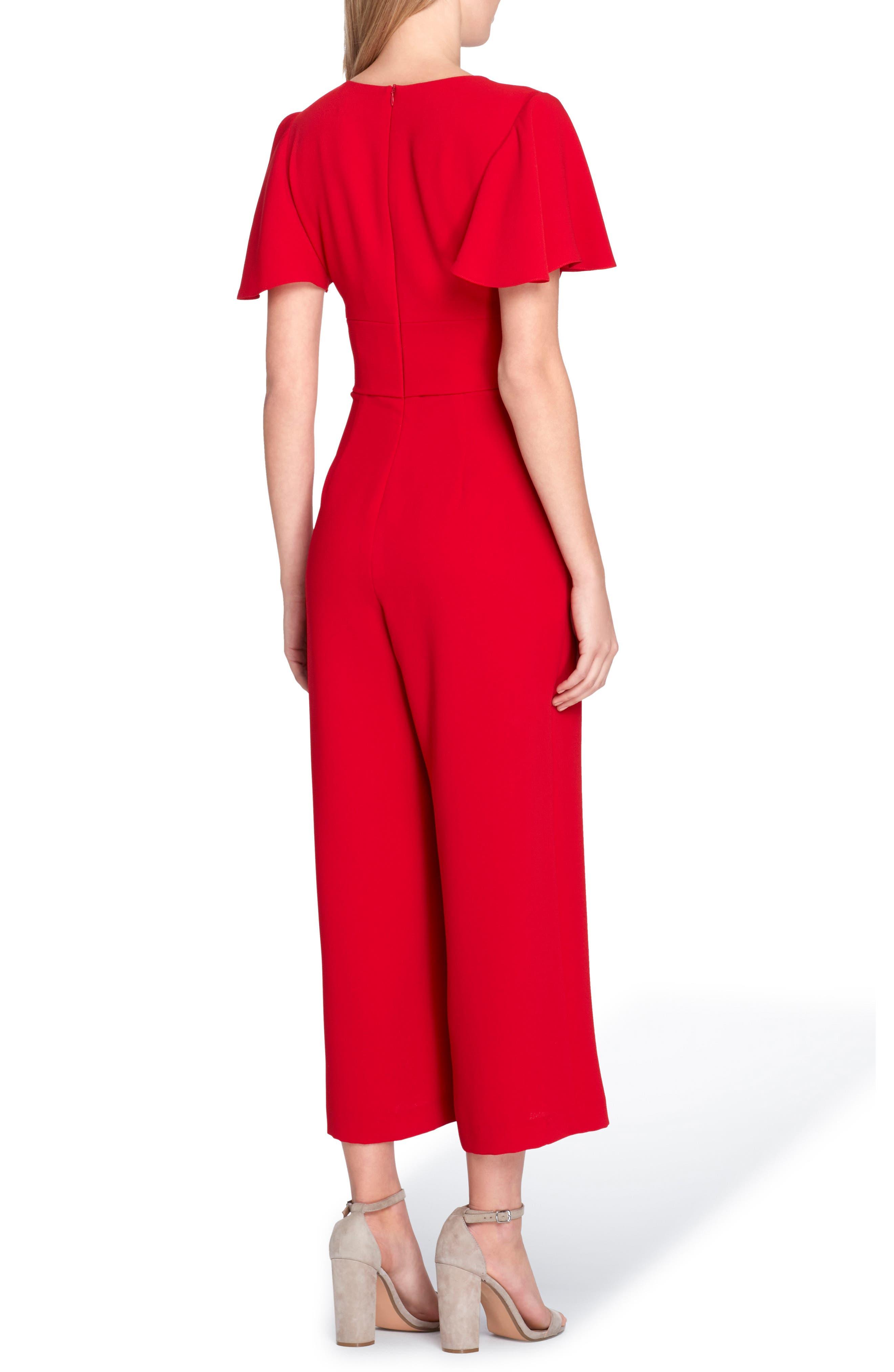 Short Sleeve Crepe Jumpsuit,                             Alternate thumbnail 2, color,                             Cardinal Red