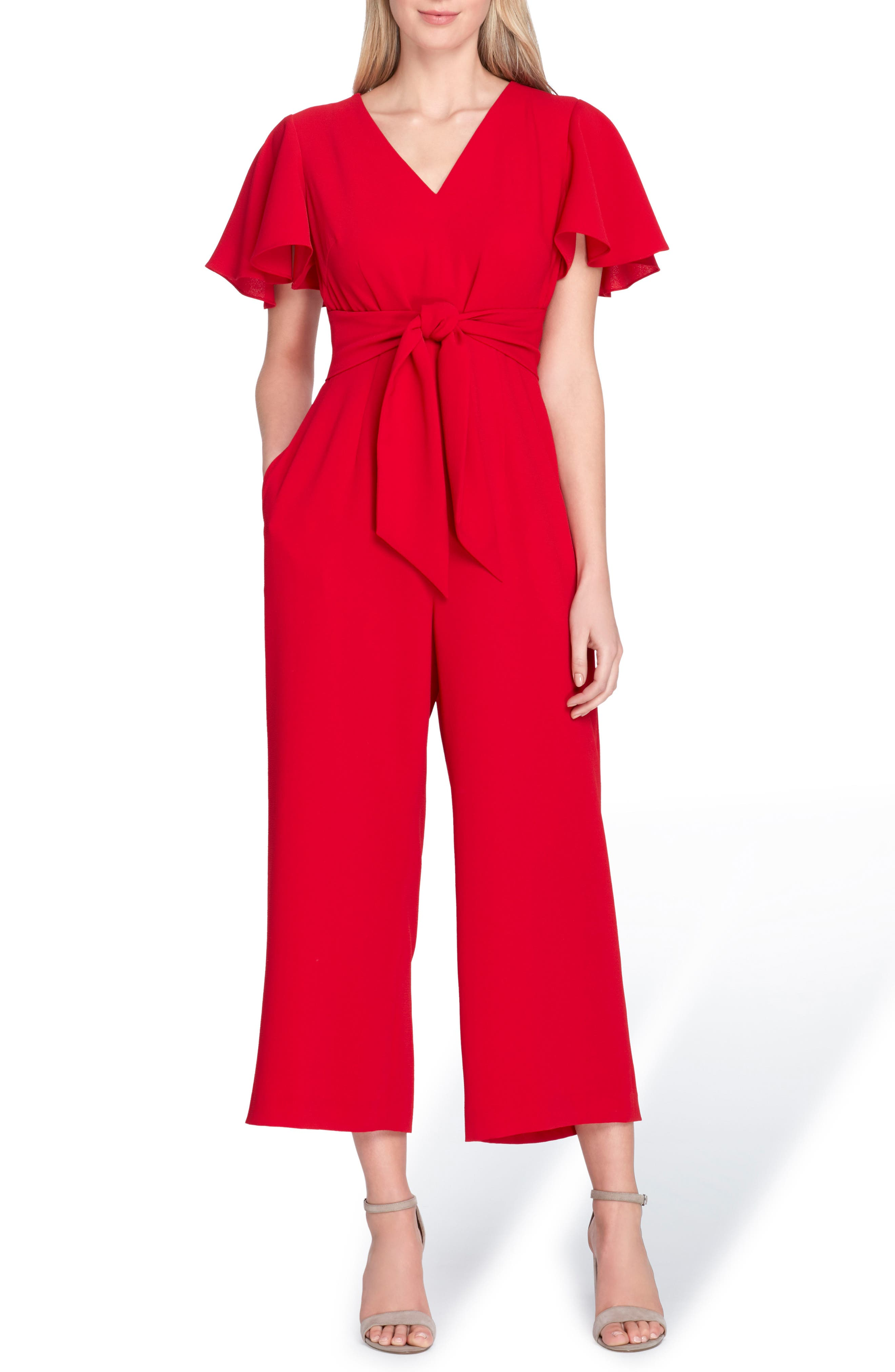 Short Sleeve Crepe Jumpsuit,                         Main,                         color, Cardinal Red