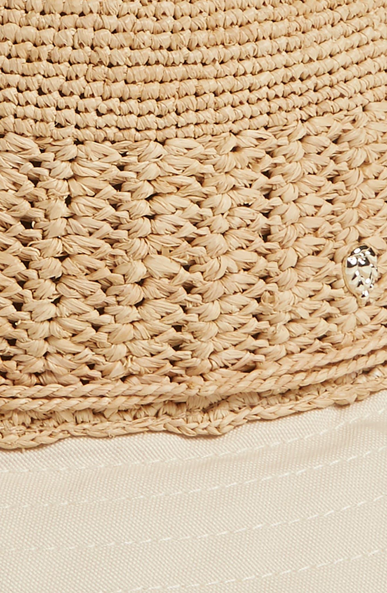 Cotton Brim Raffia Hat,                             Alternate thumbnail 2, color,                             Natural/ Shell