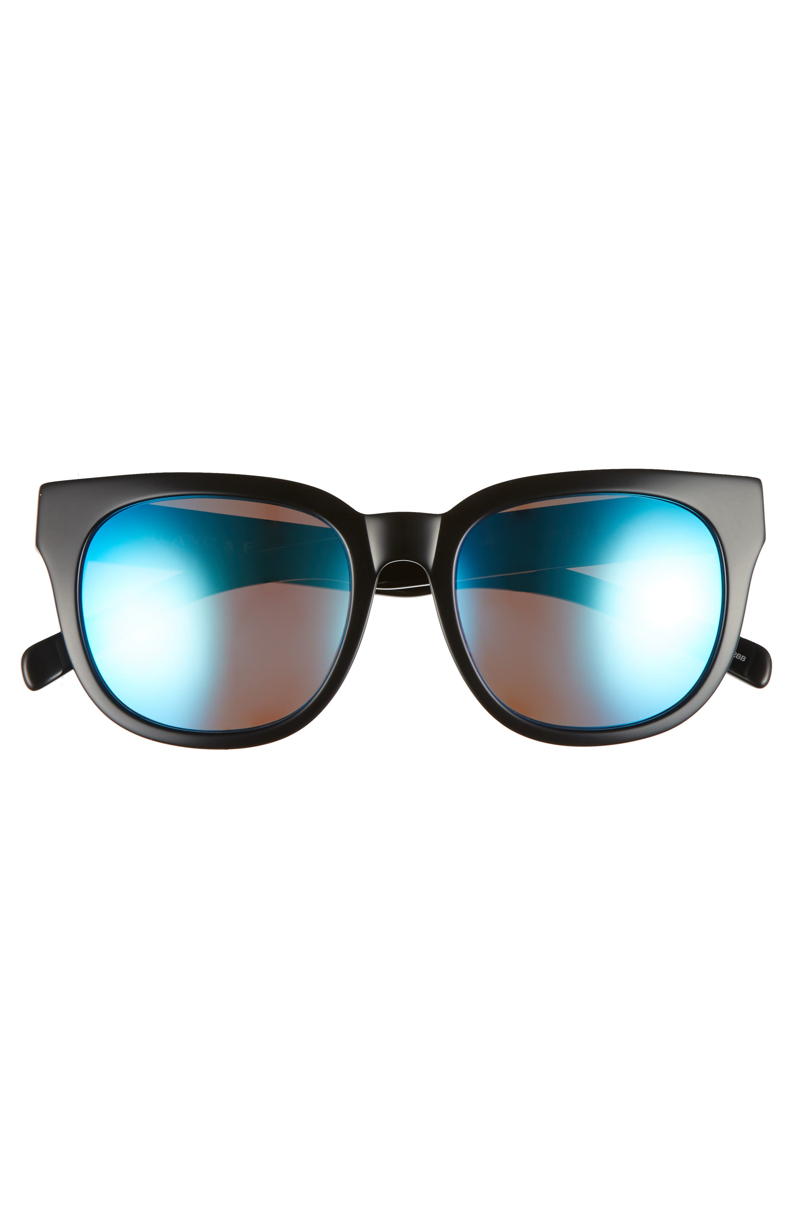 BLANC & ECLARE Seoul 55mm Polarized Sunglasses,                             Alternate thumbnail 3, color,                             Black/ Blue Mirror