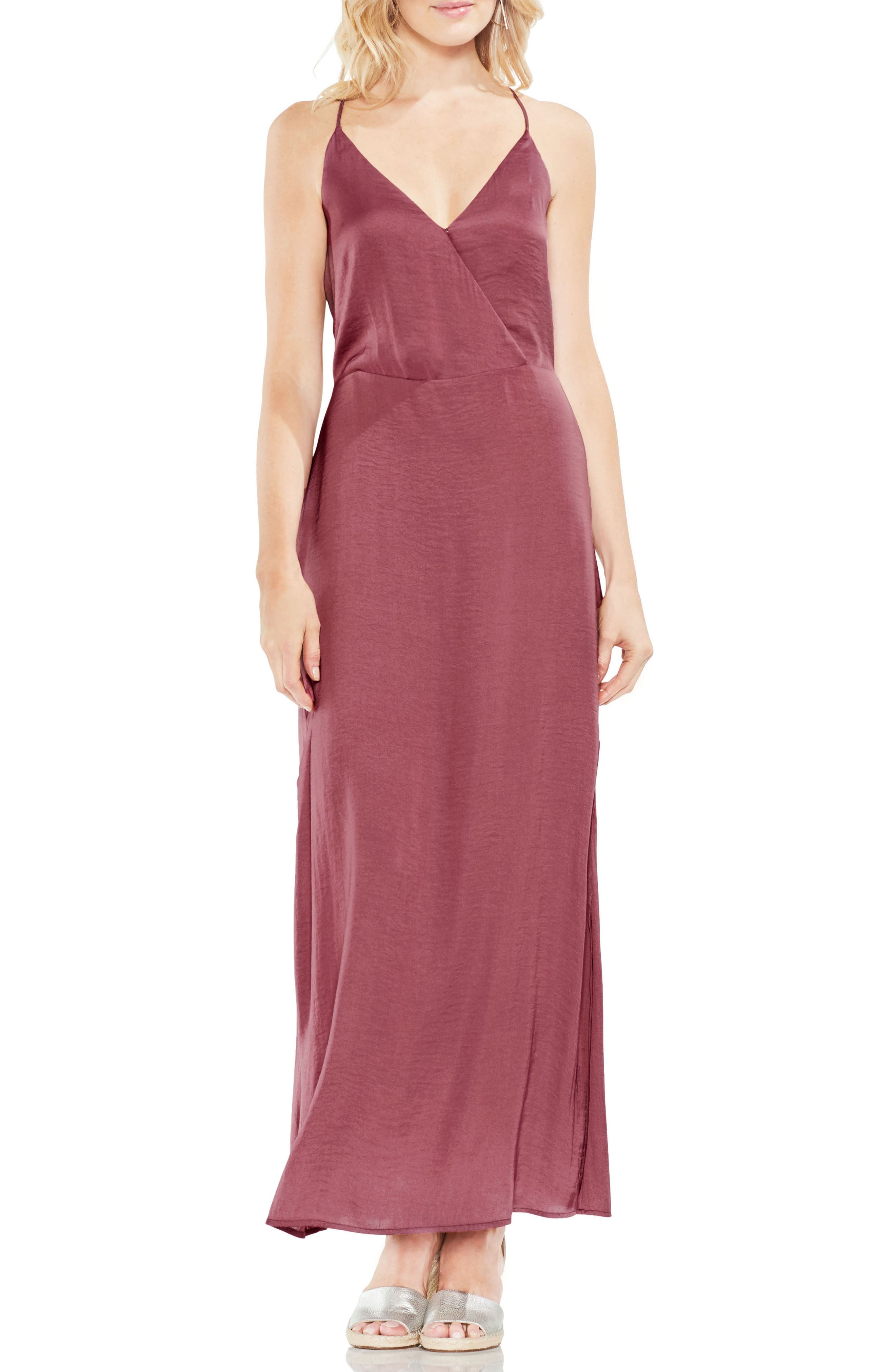 Hammered Satin Wrap Front Maxi Dress,                         Main,                         color, Summer Rose