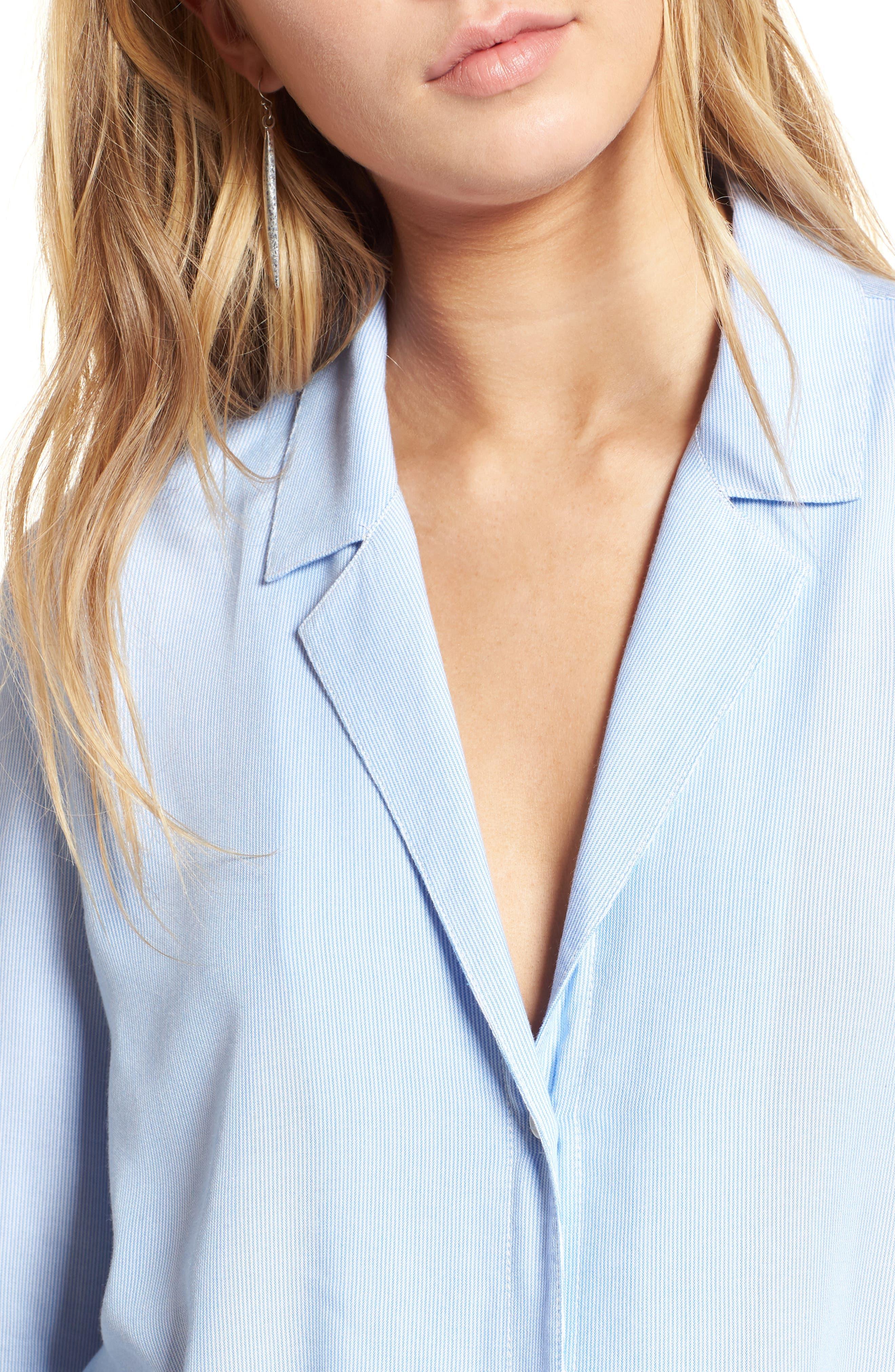 Tie Front Shirt,                             Alternate thumbnail 4, color,                             Blue Lake Micro Stripe