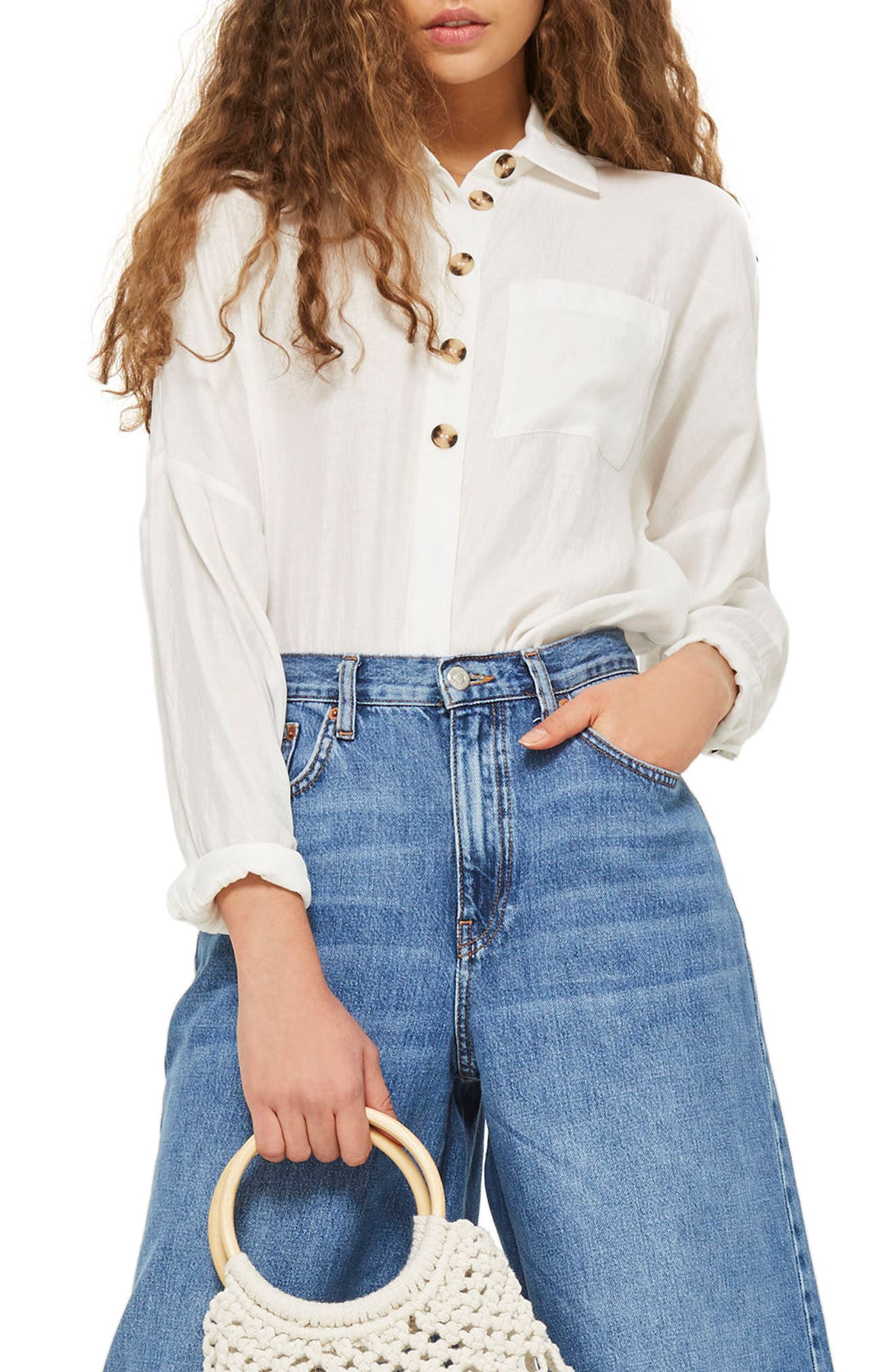 Lightweight Button Shirt,                             Main thumbnail 1, color,                             Ivory