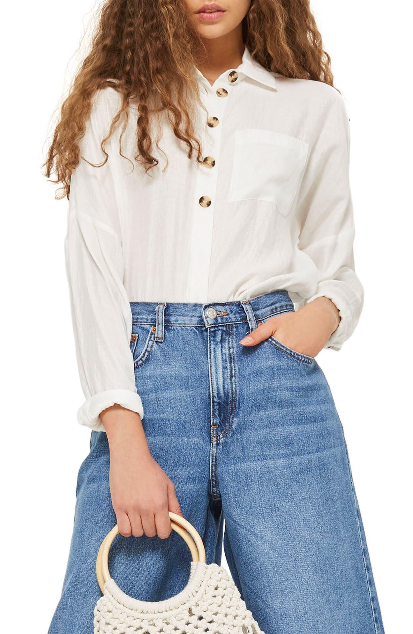 Lightweight Button Shirt,                         Main,                         color, Ivory