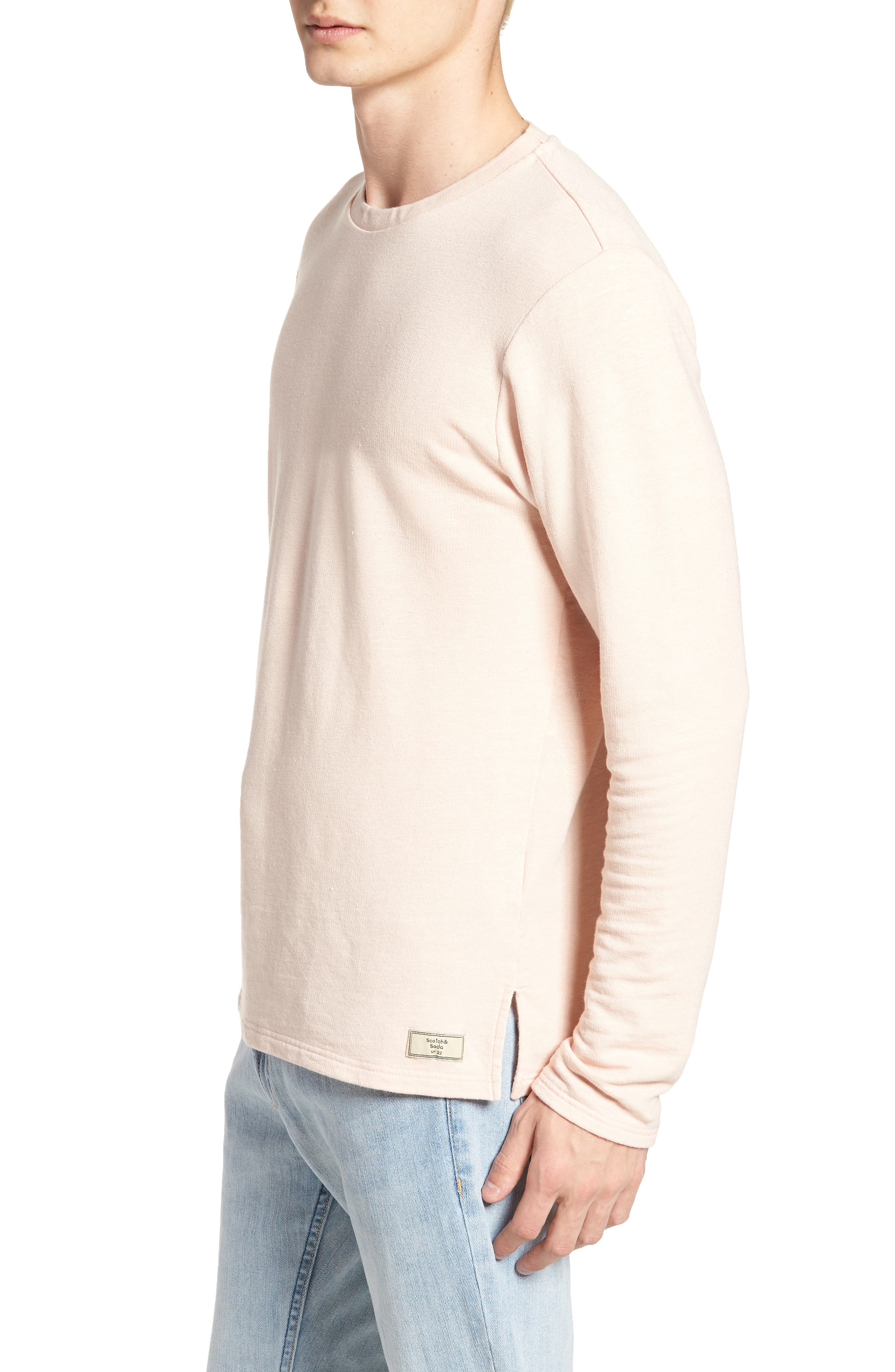 Stripe Crewneck Sweater,                             Alternate thumbnail 3, color,                             Pink Ash