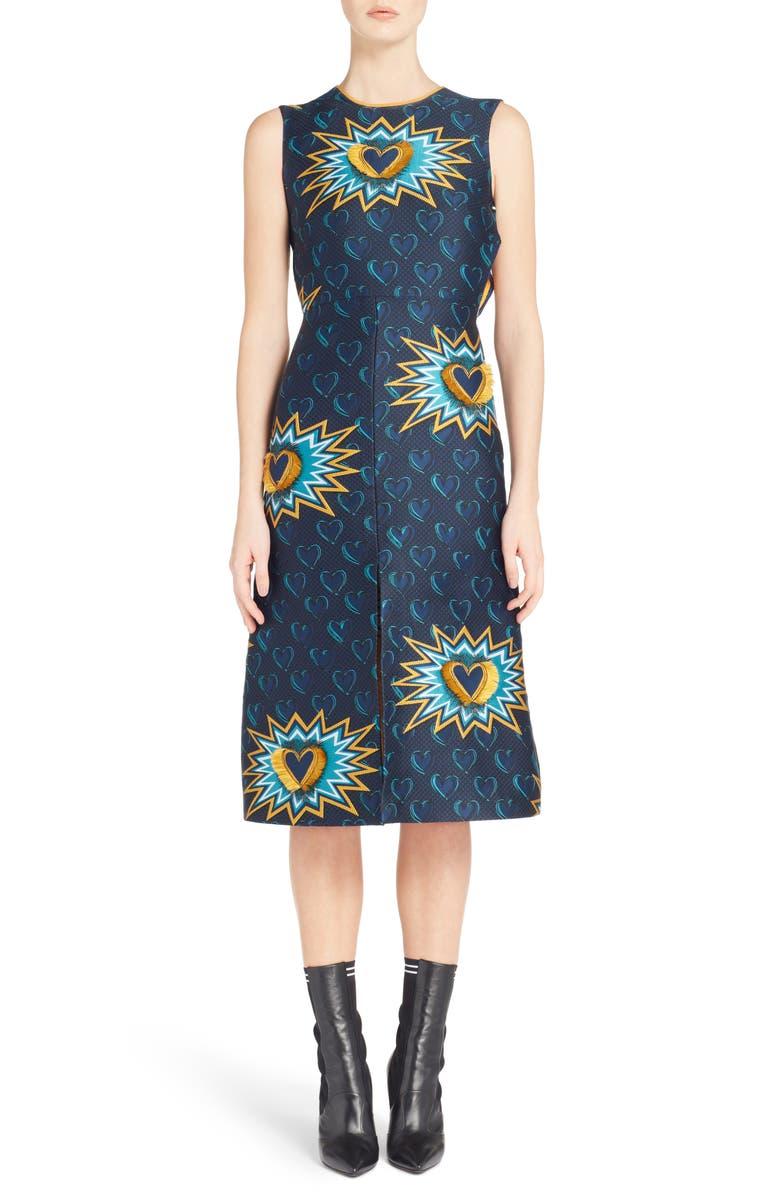 Heart Jacquard Midi Dress