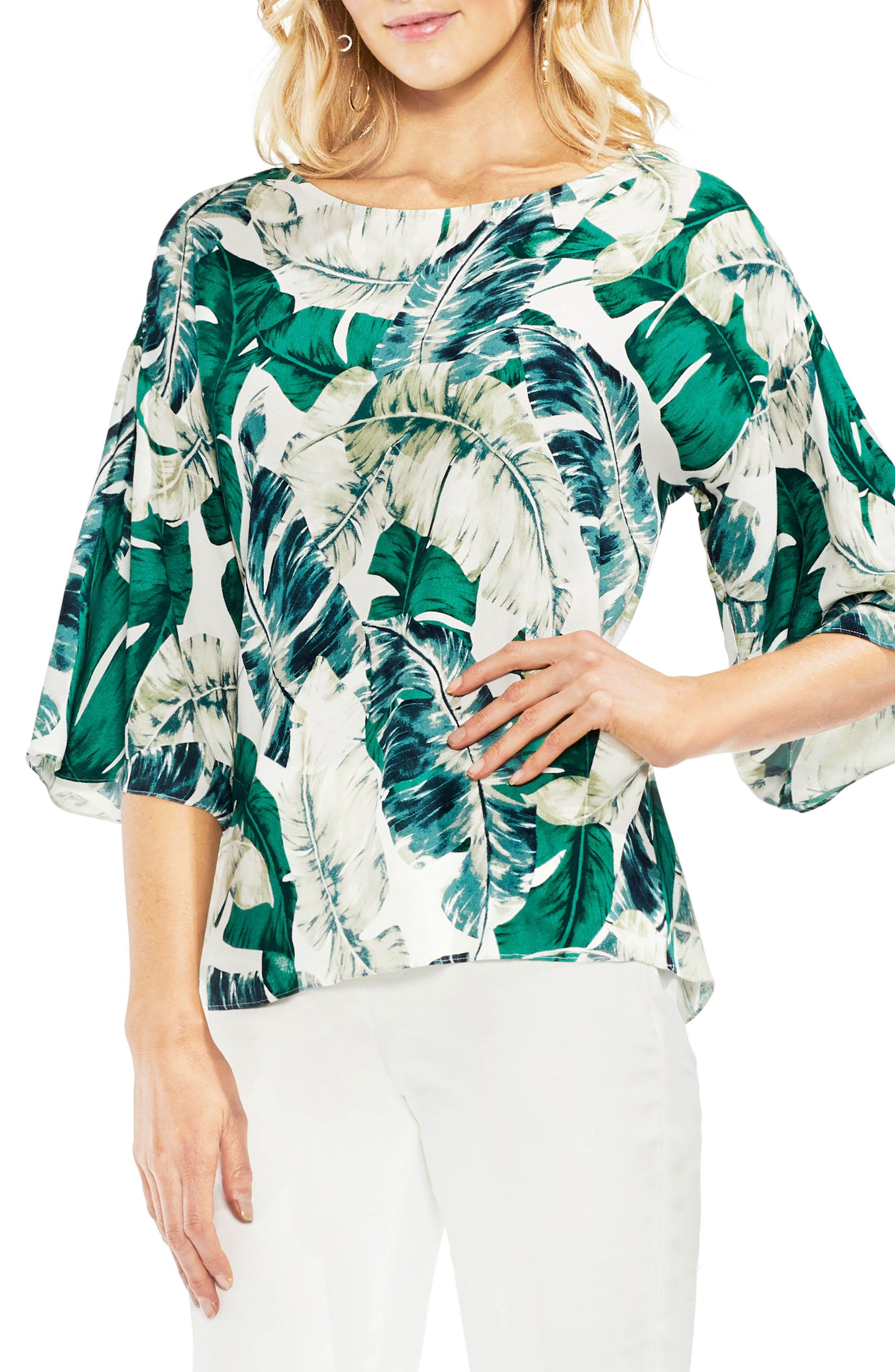 Jungle Print Ruffle Sleeve Top,                         Main,                         color, New Ivory