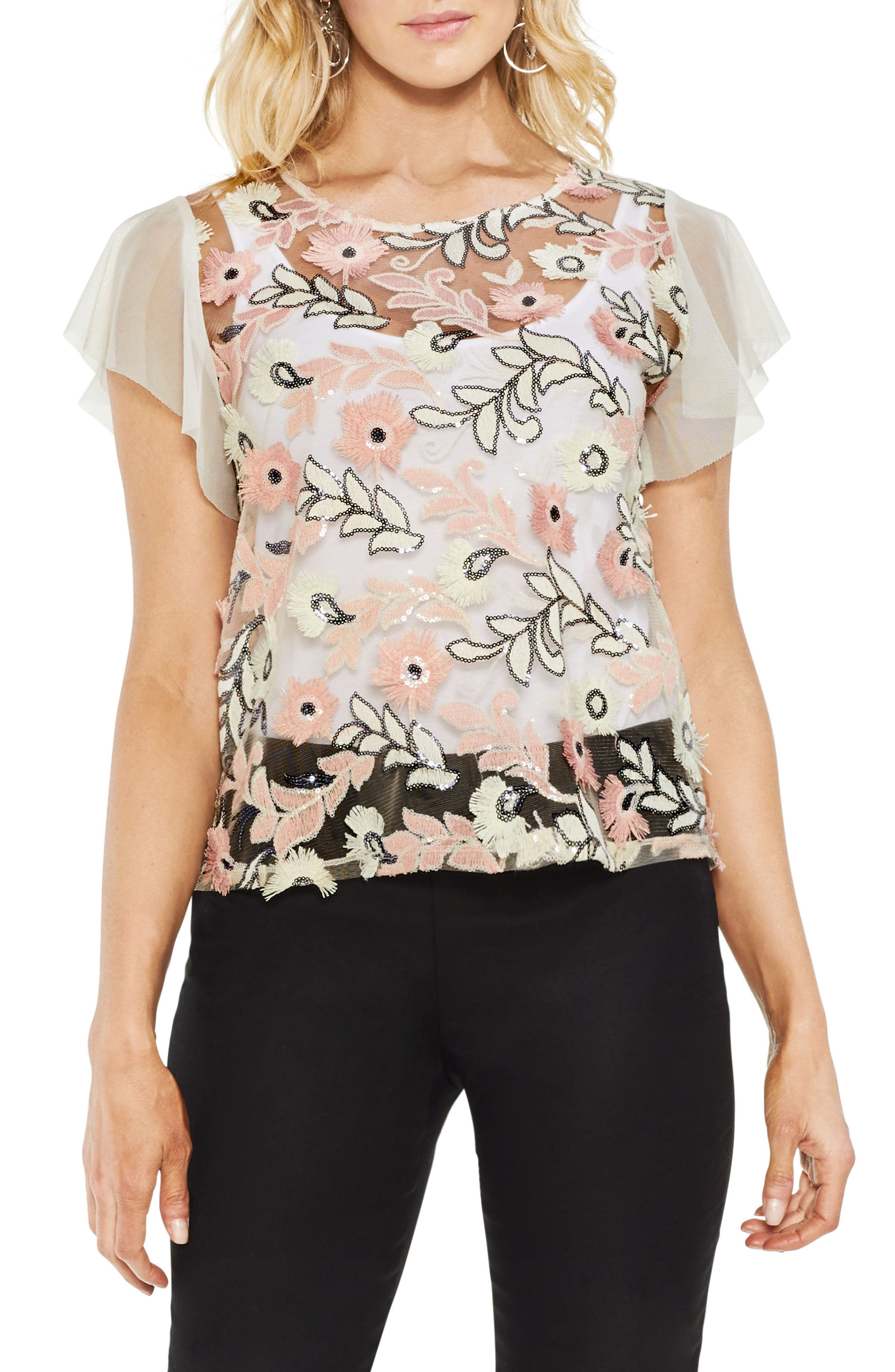 Sequin & Embroidery Top,                         Main,                         color, Pink Fawn