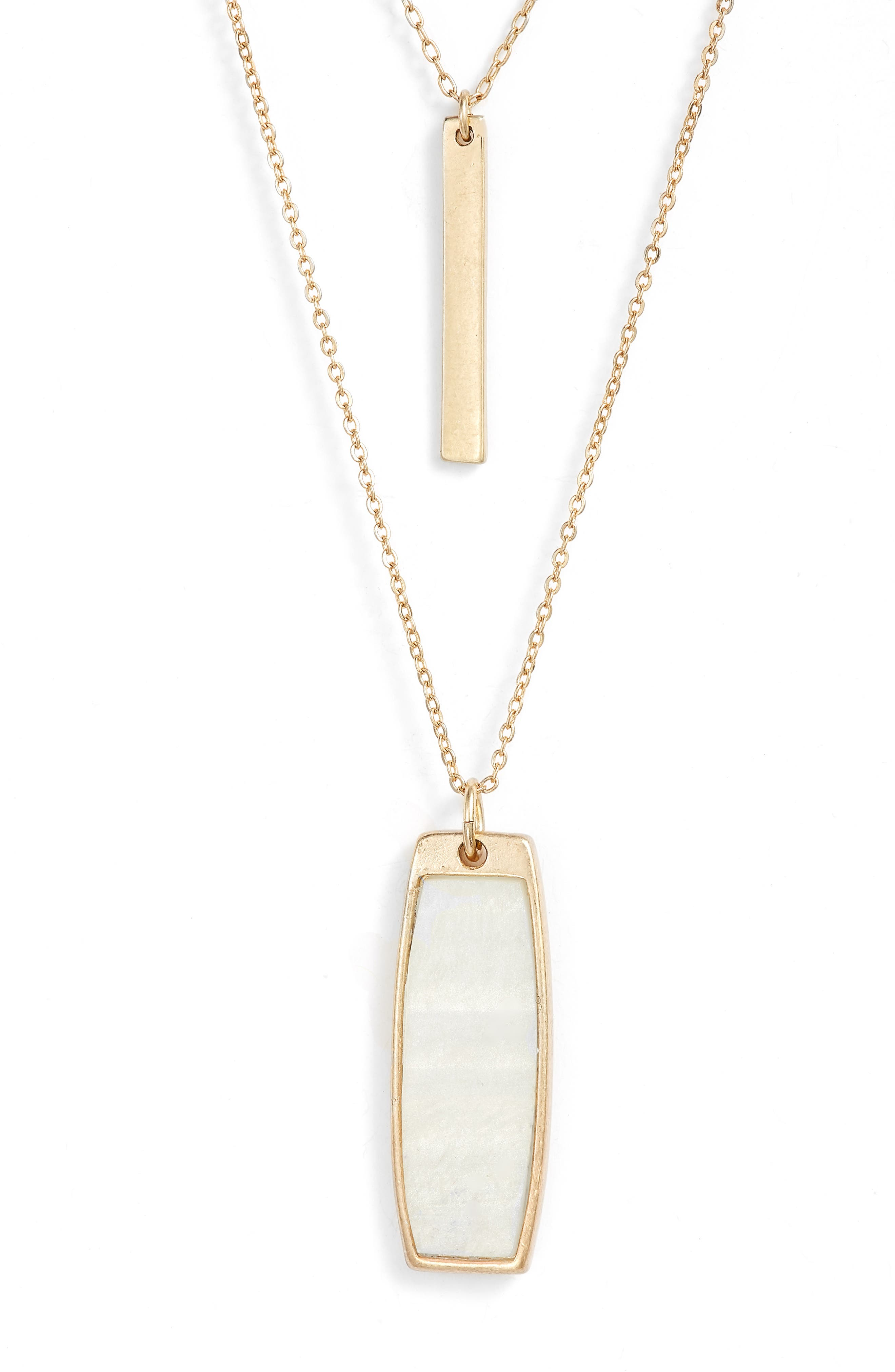 Long Layered Dog Tag Necklace,                             Alternate thumbnail 2, color,                             White- Gold