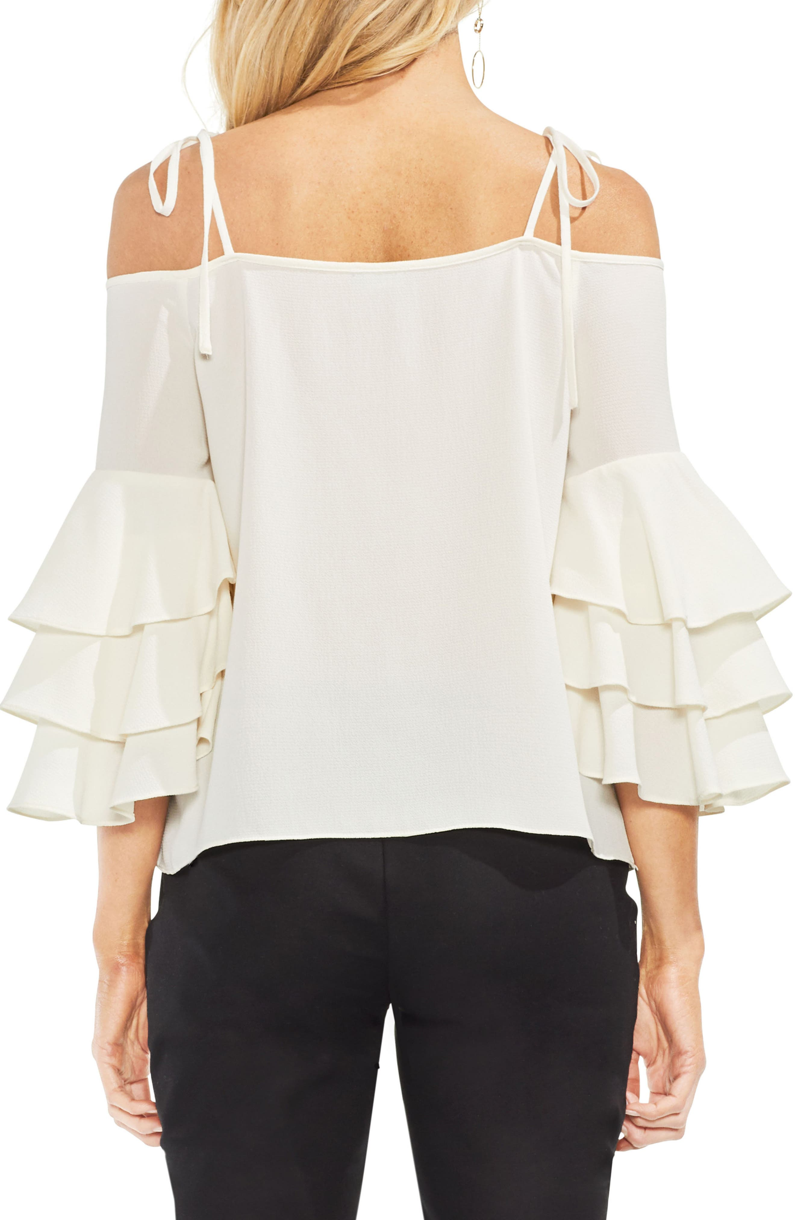 Cold Shoulder Ruffle Sleeve Top,                             Alternate thumbnail 2, color,                             Antique White