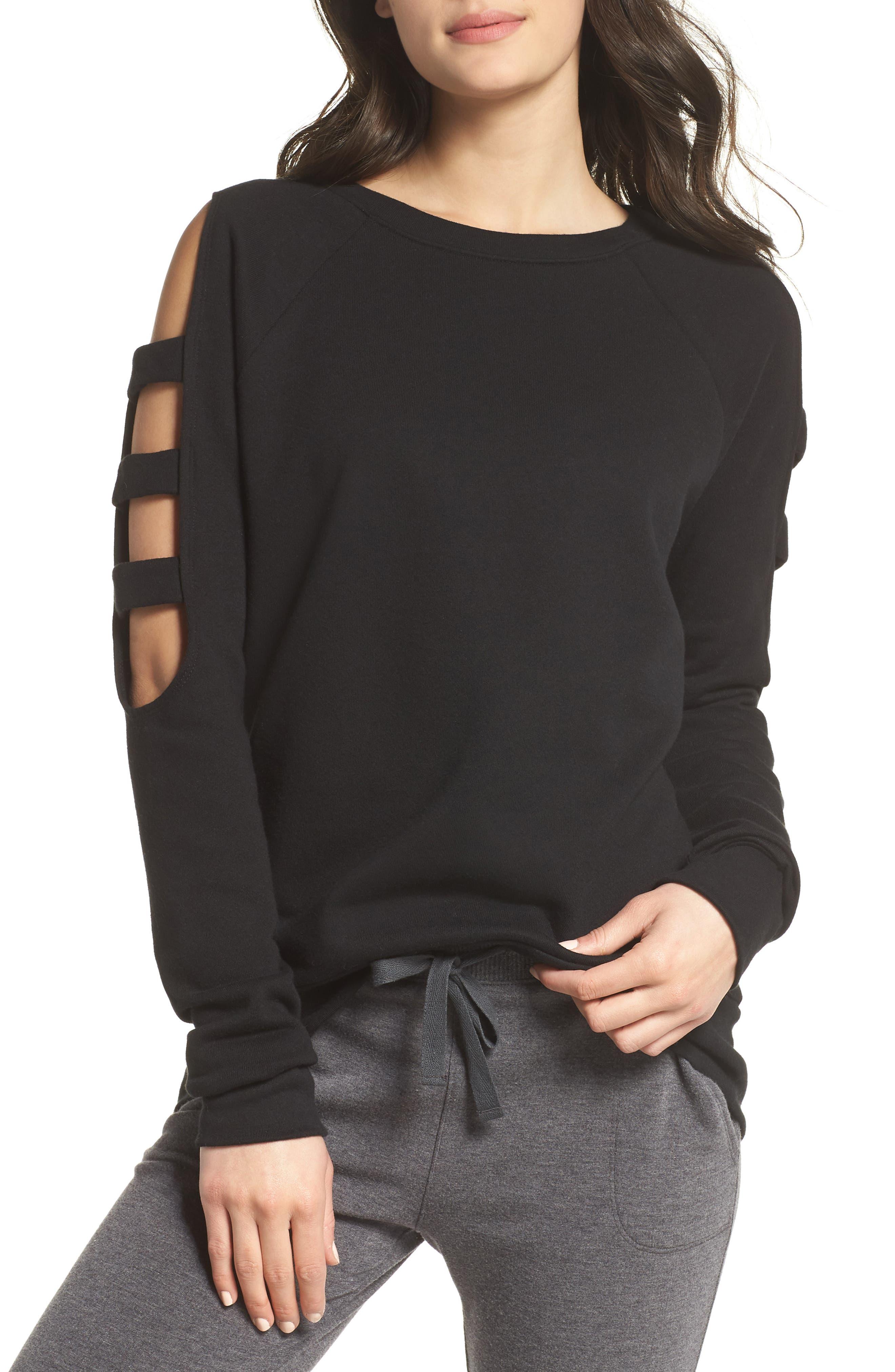 Zella Cutout Sleeve Sweatshirt. BLACK; GREY URBAN