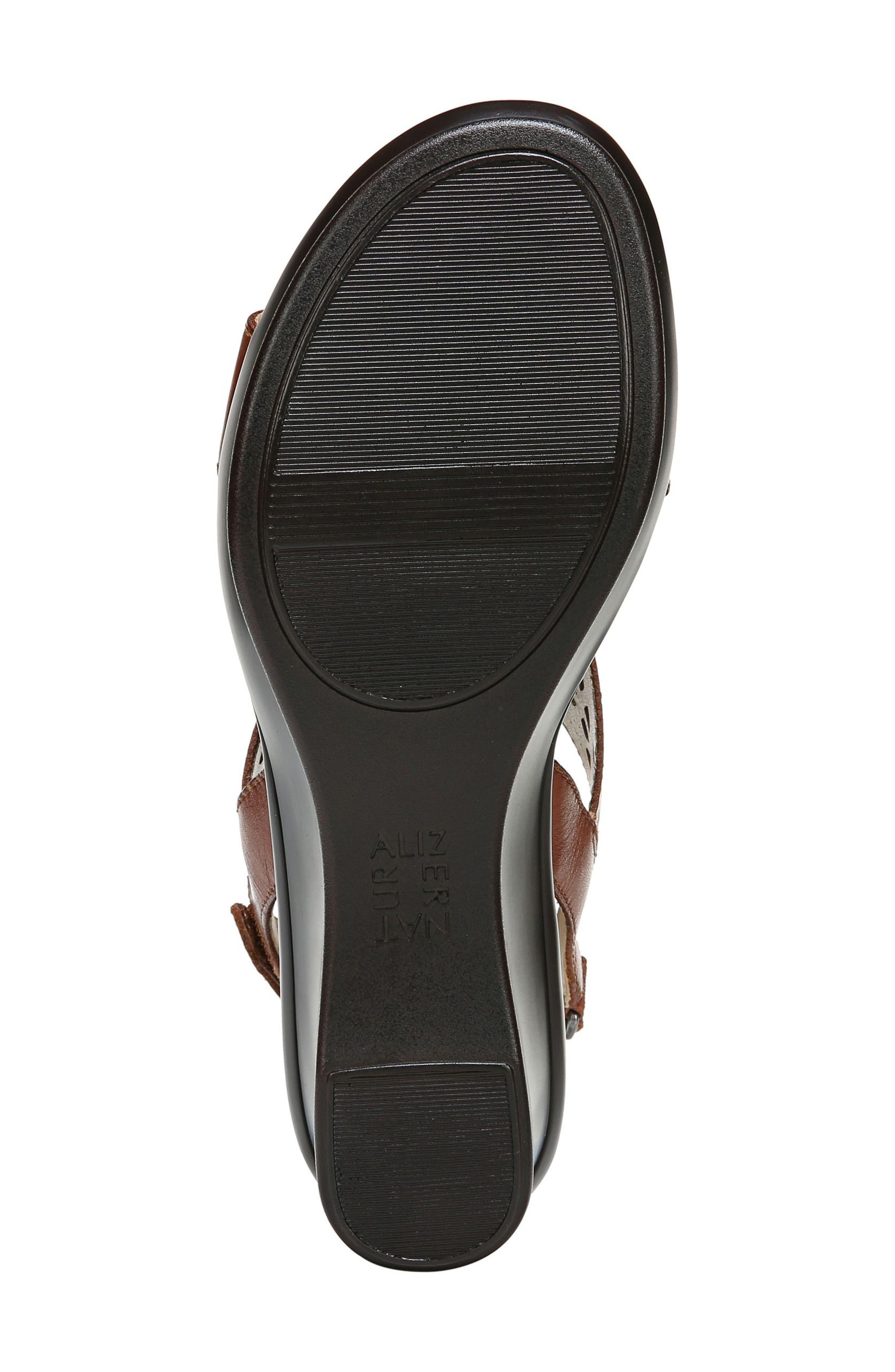 Veda Wedge Sandal,                             Alternate thumbnail 6, color,                             Cognac Leater