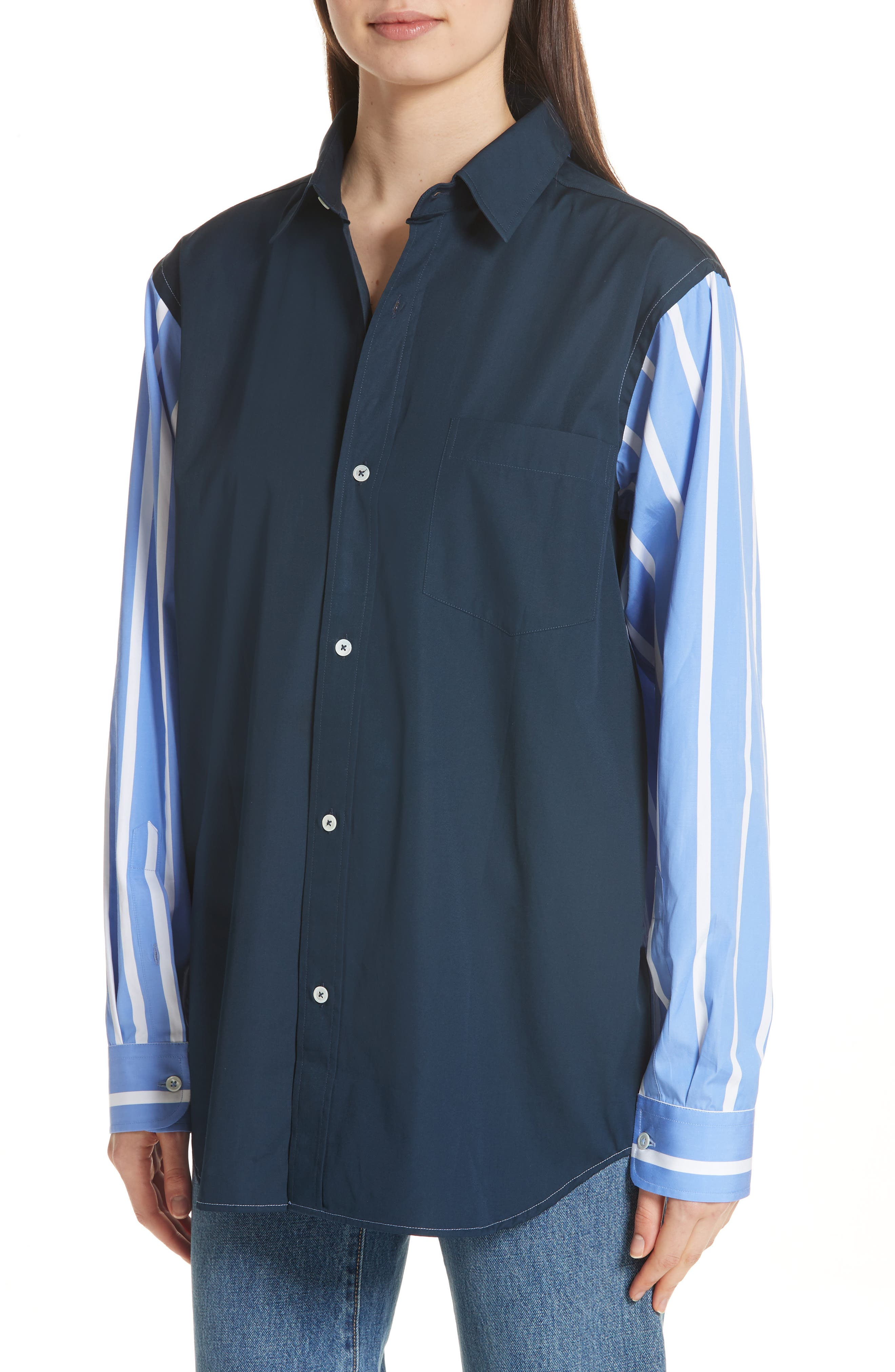 Front to Back Cotton Shirt,                             Alternate thumbnail 2, color,                             Blue Stripe