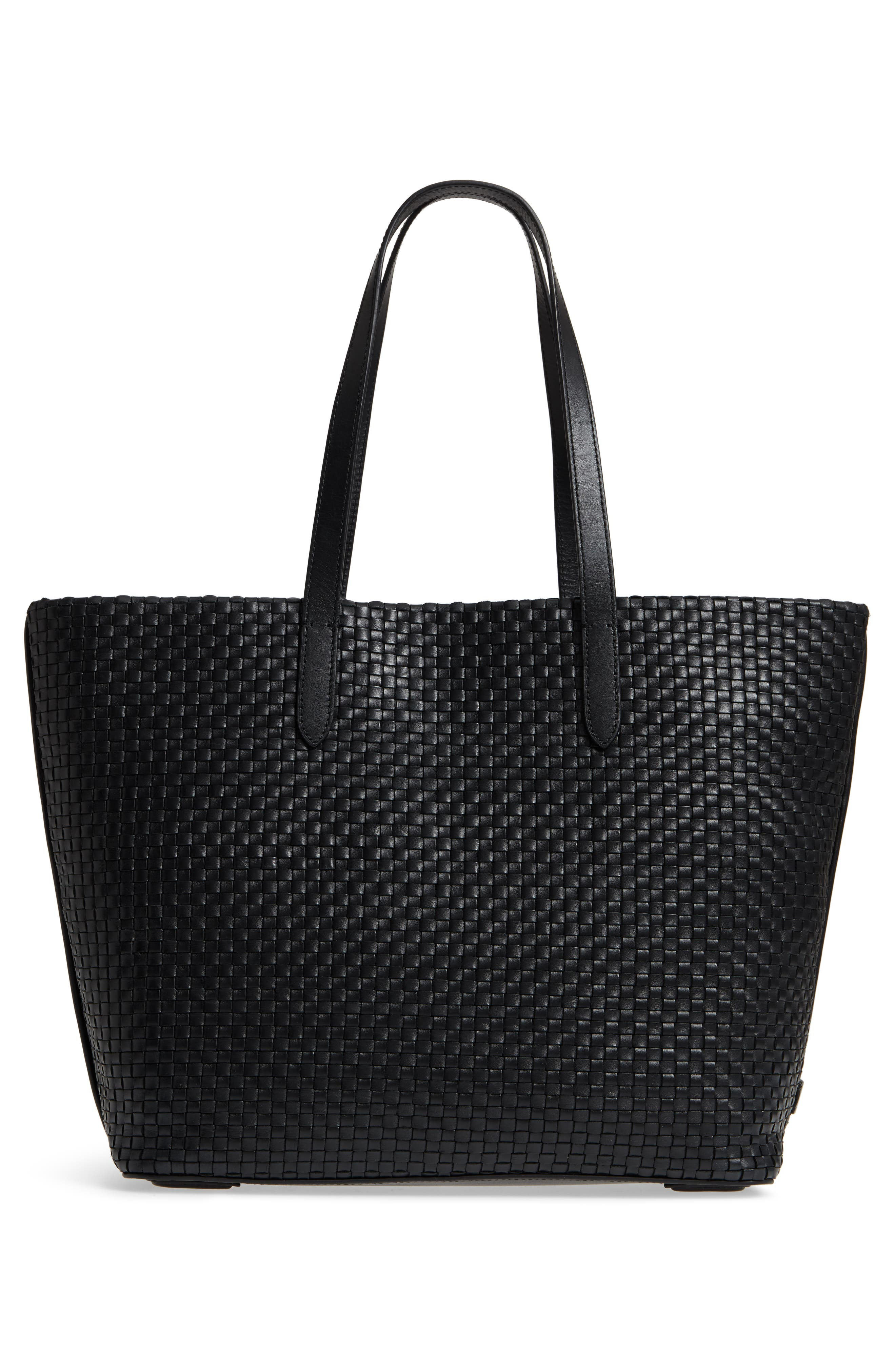 Payson RFID Woven Leather Tote,                             Alternate thumbnail 4, color,                             Black