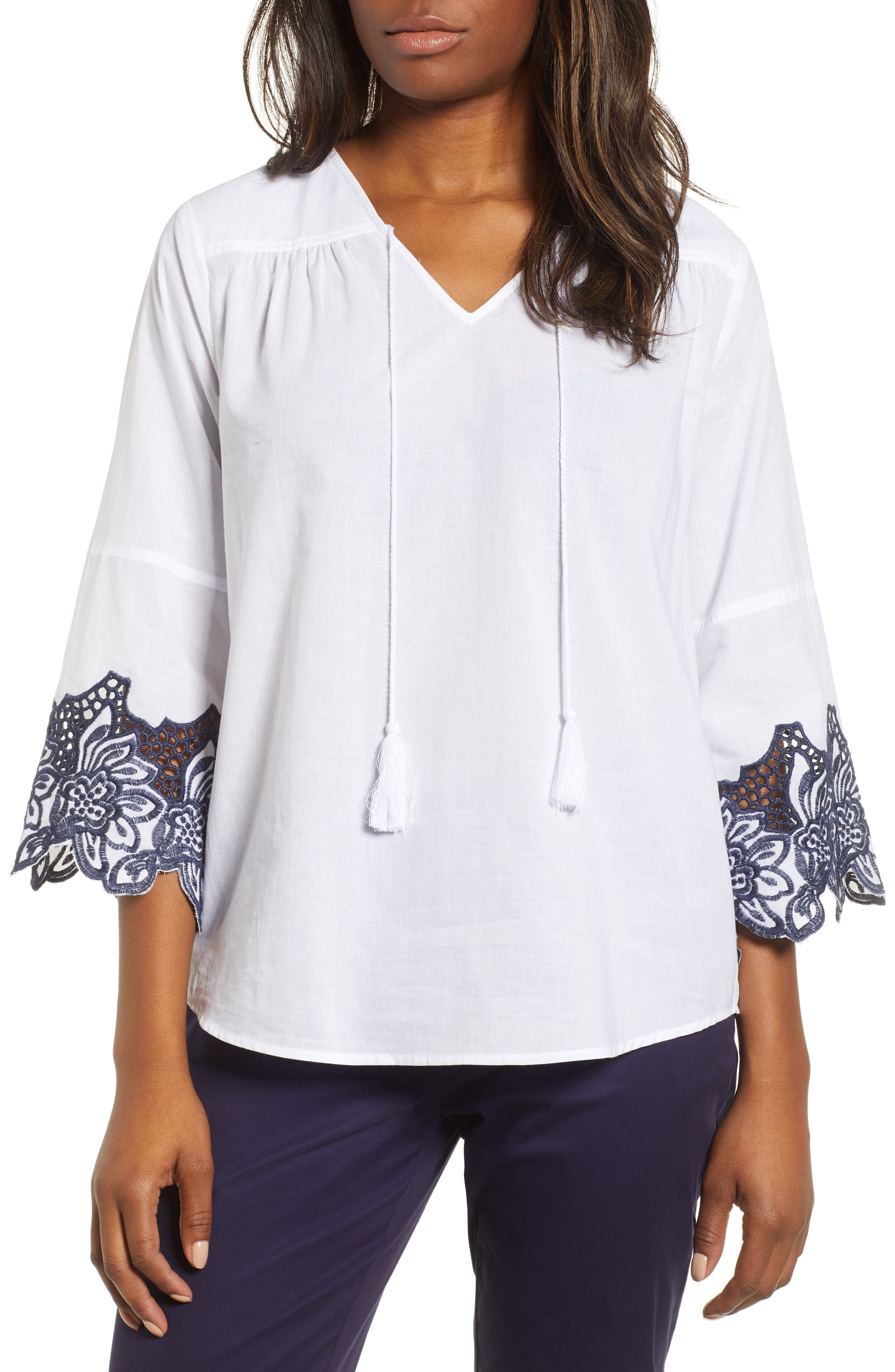 Bell Sleeve Embroidered Trim Blouse,                             Main thumbnail 1, color,                             Ultra White