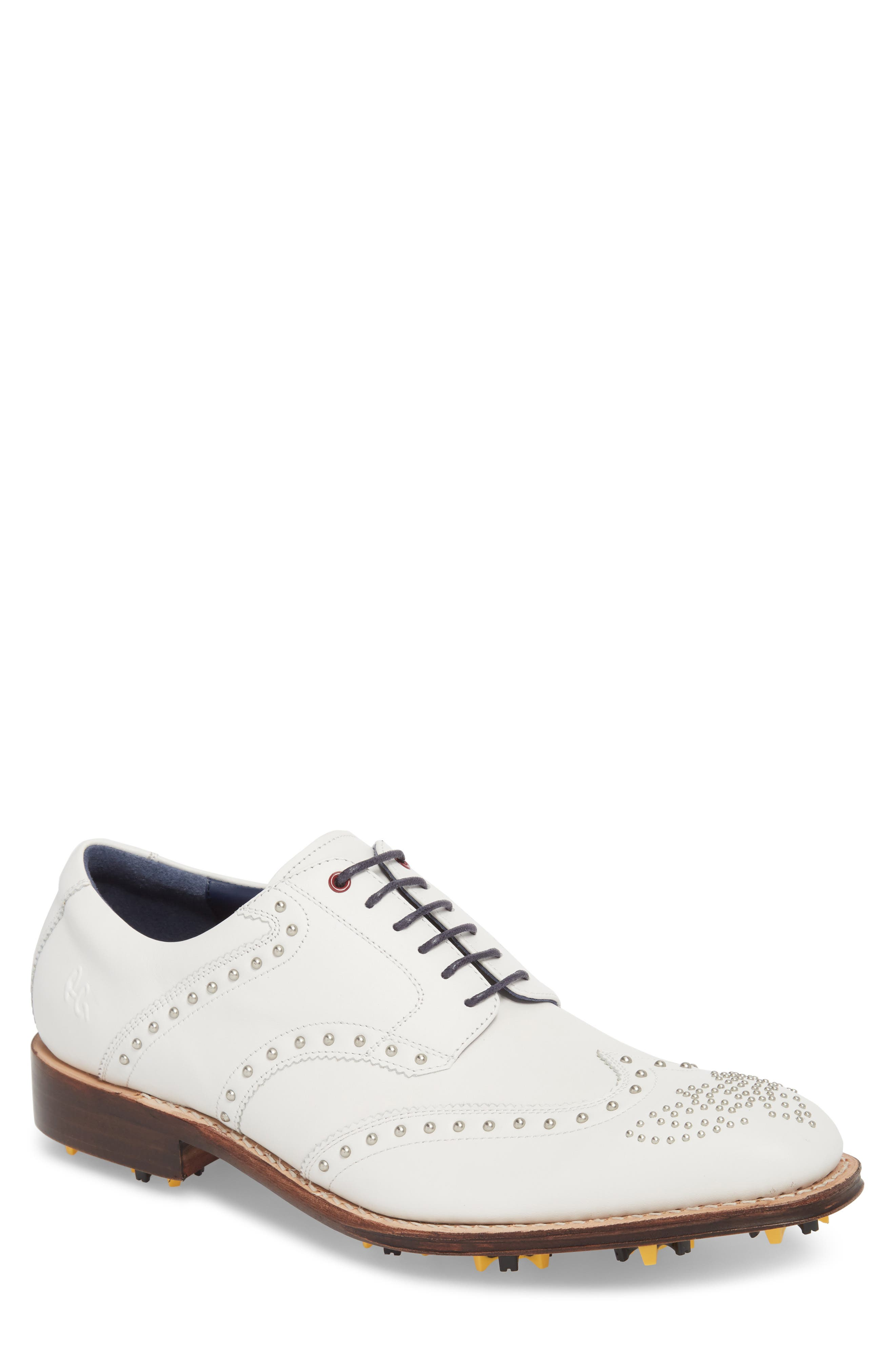 Rocker Plain Toe Oxford with Removable Cleats,                             Main thumbnail 1, color,                             White Leather