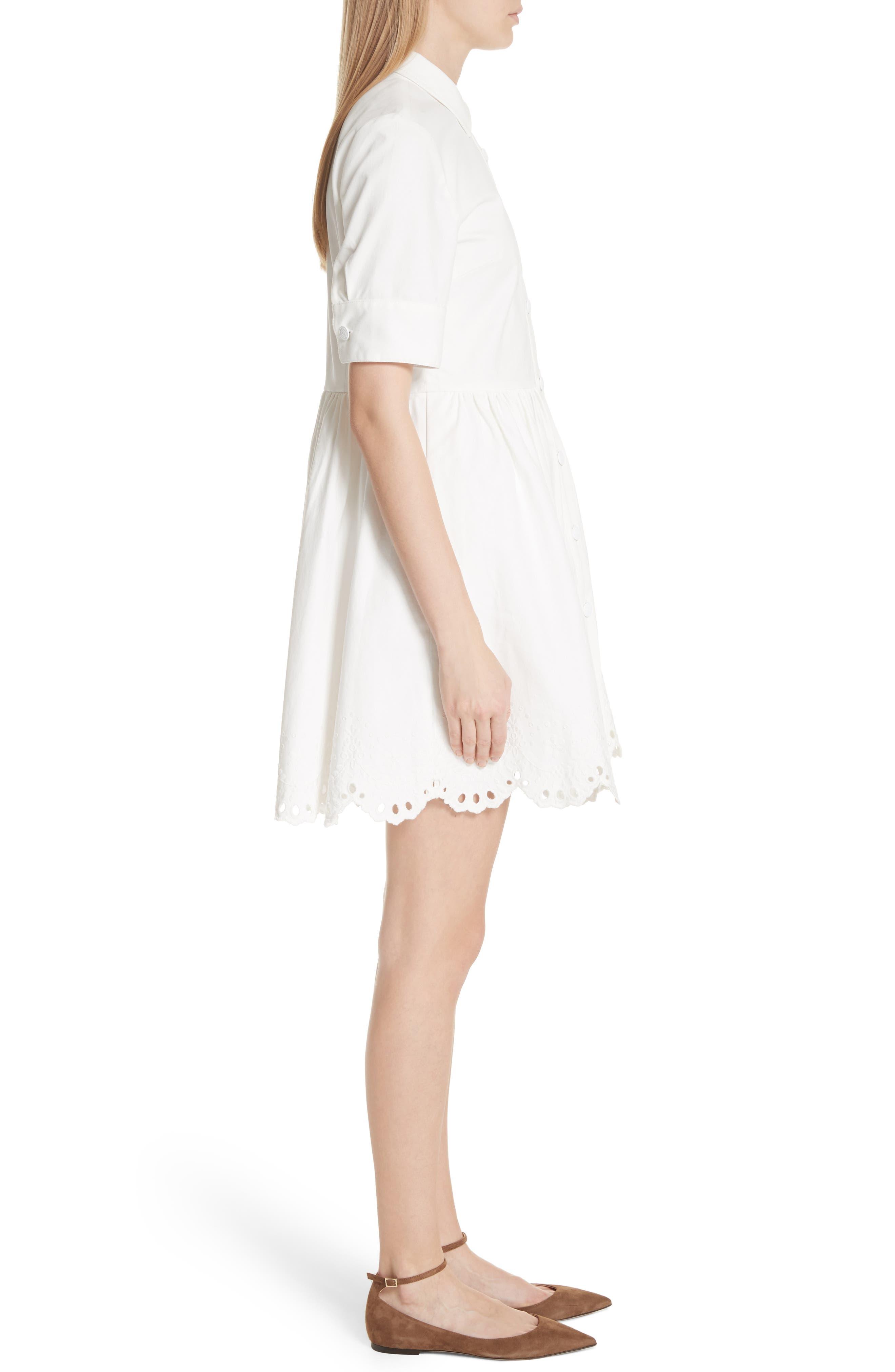 cutwork denim shirtdress,                             Alternate thumbnail 3, color,                             White