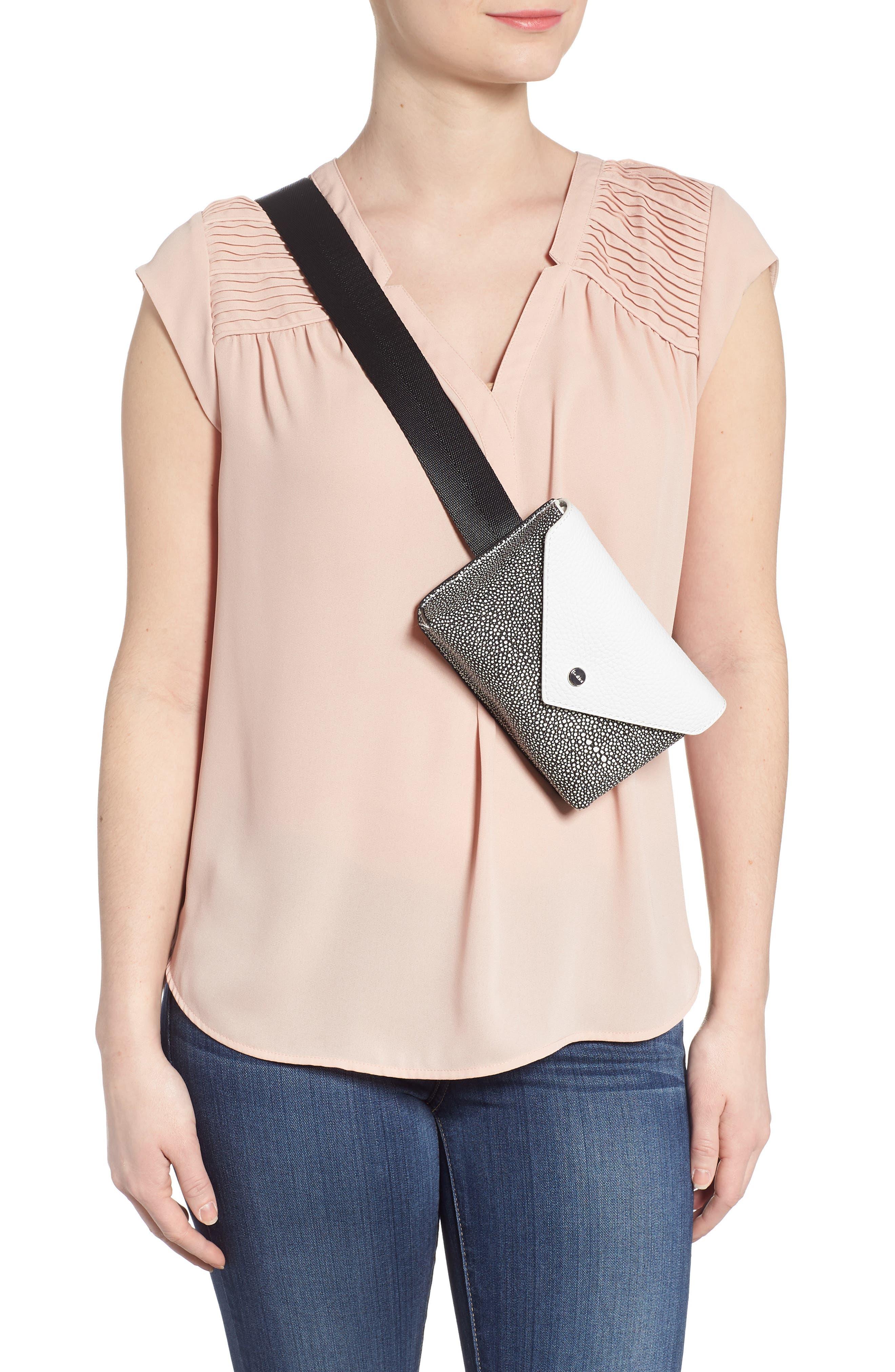Vivi Calfskin Leather Convertible Belt Bag,                             Alternate thumbnail 3, color,                             Chalk Stingray